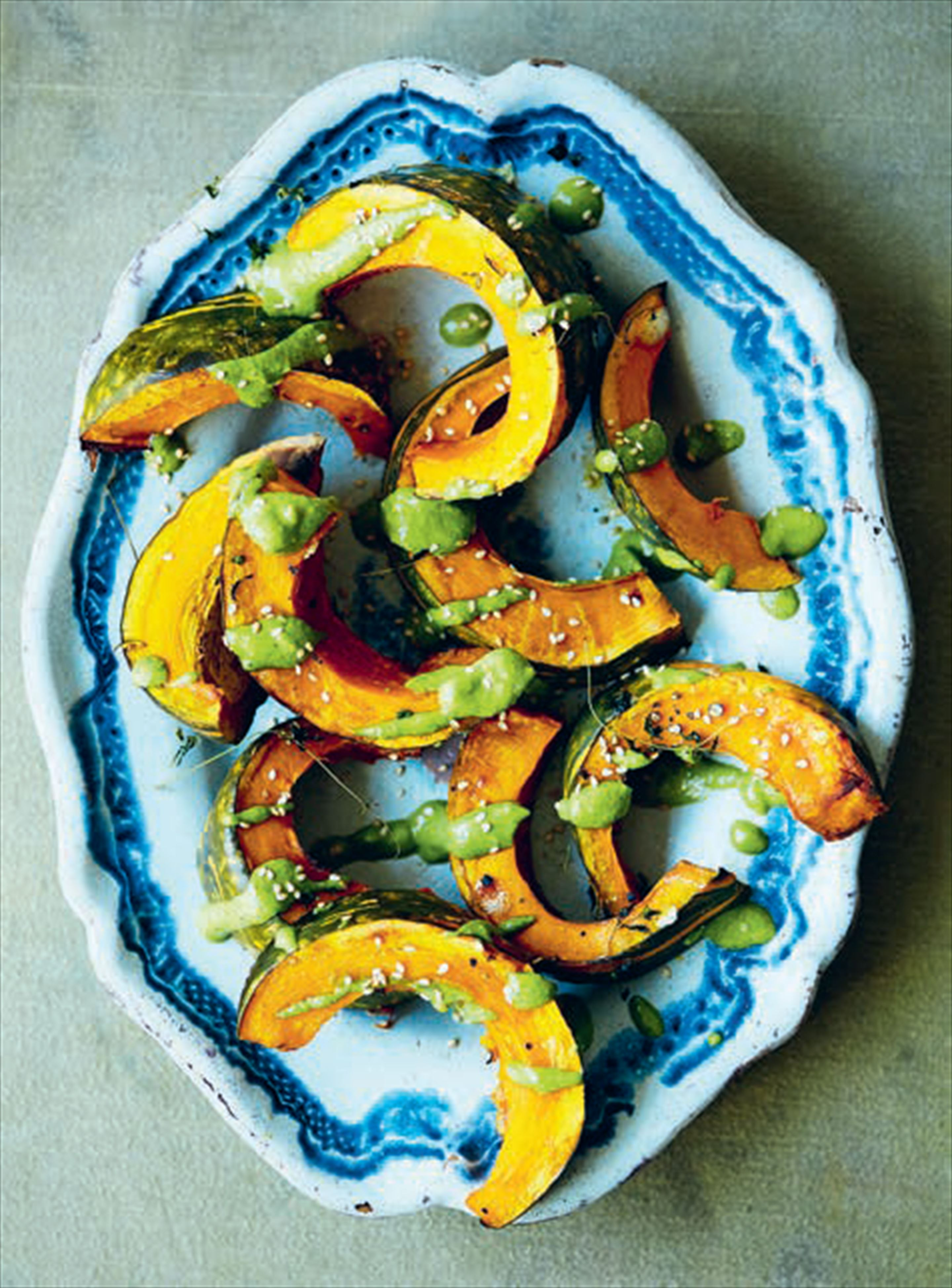 Roasted pumpkin with parsley, dill, tarragon & almond pesto