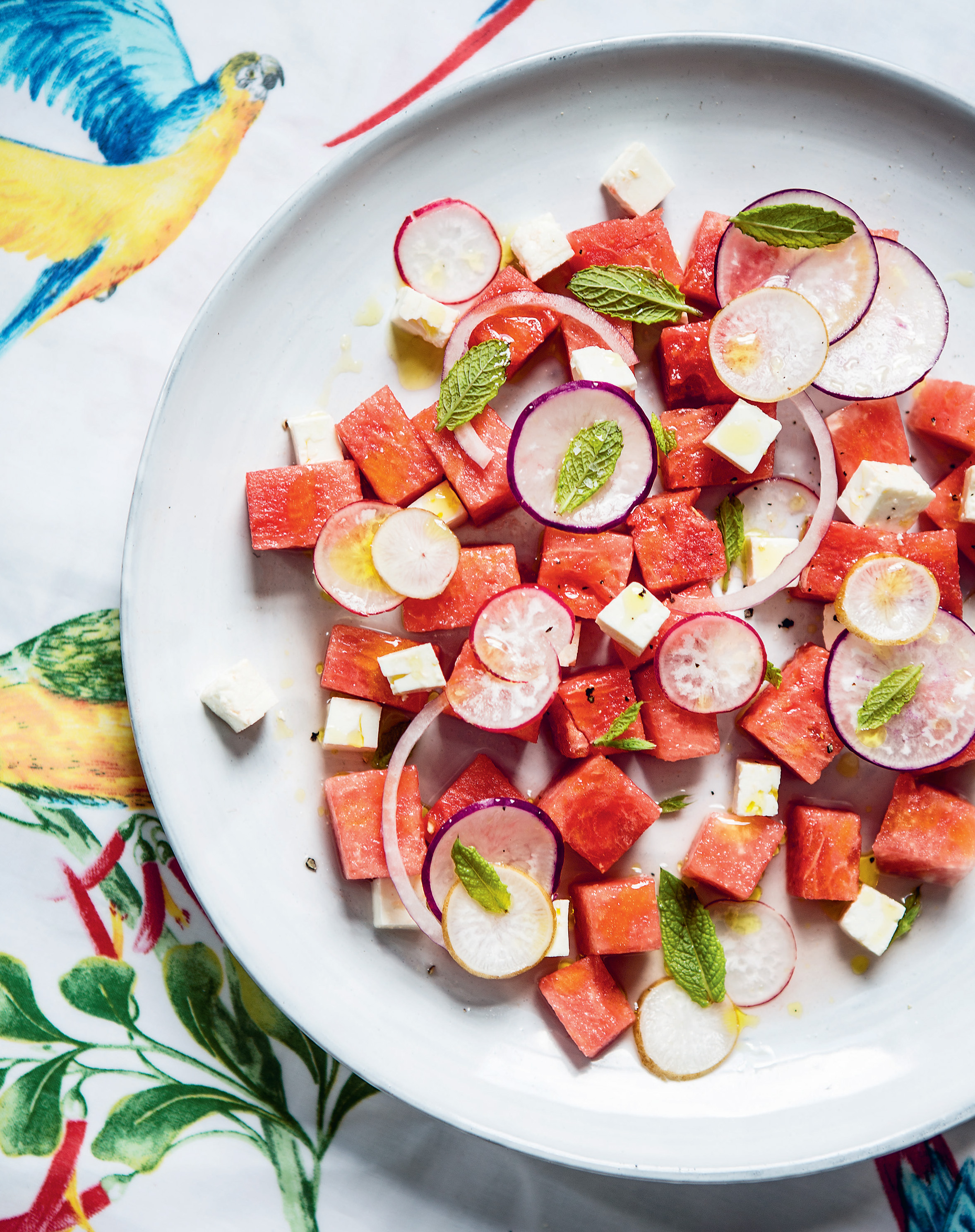 Summer watermelon, feta + radish salad with mint