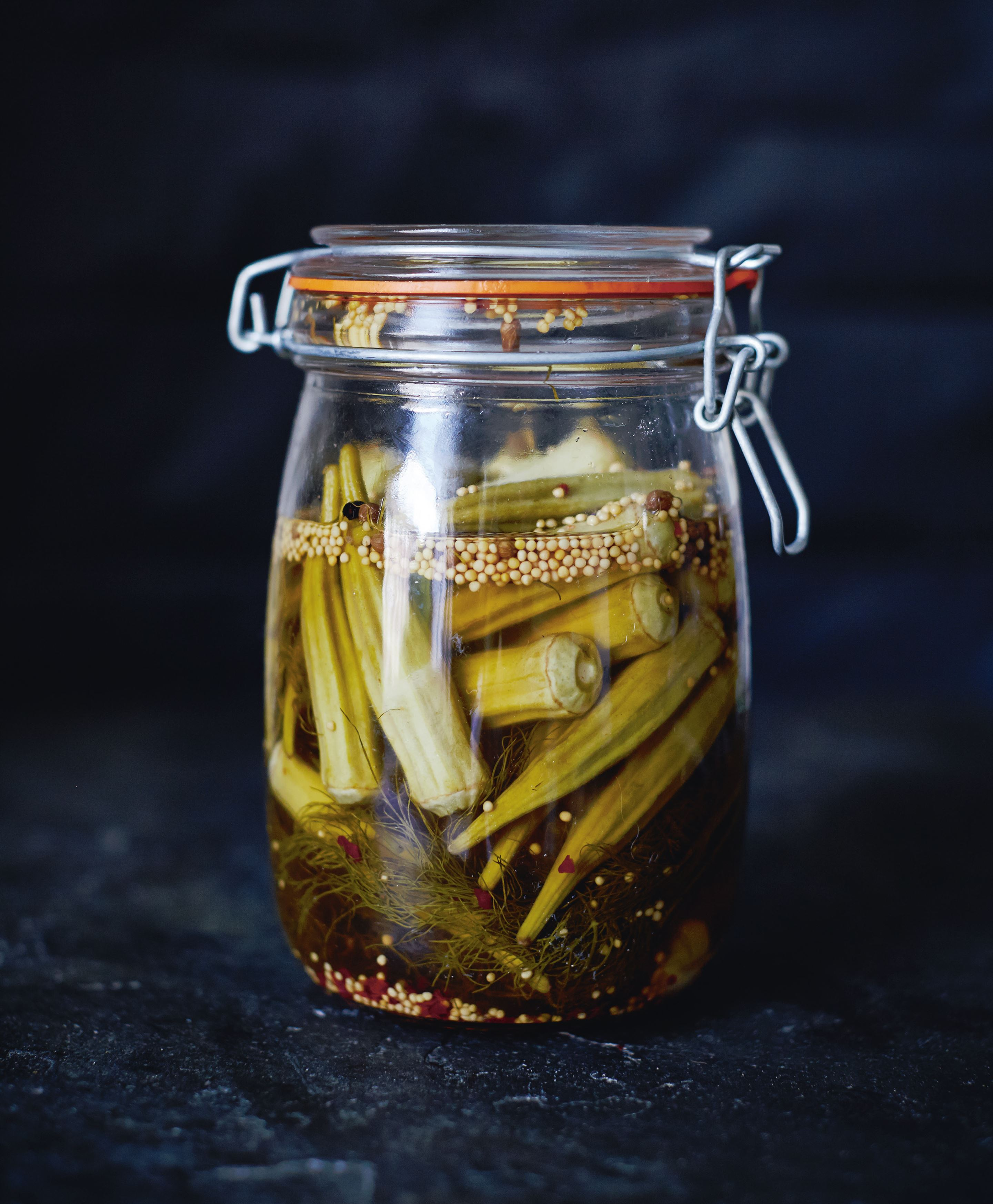 Bourbon pickled okra