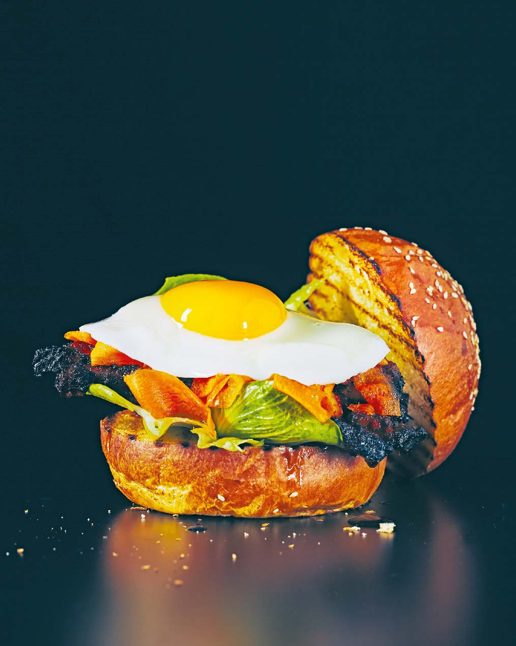Marinated Korean pork belly with kimchi + fried egg