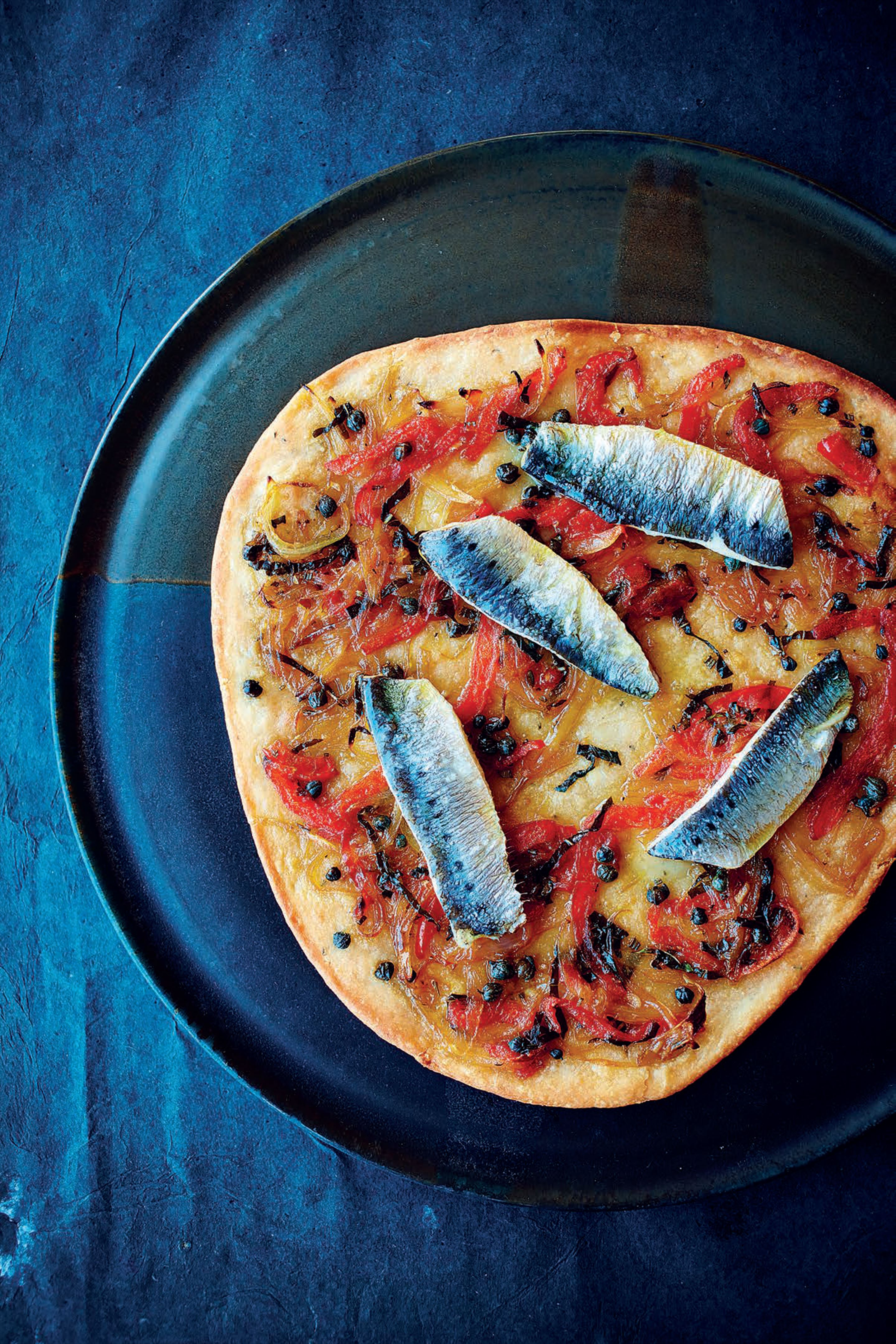 Sardine, pepper and shallot flatbreads