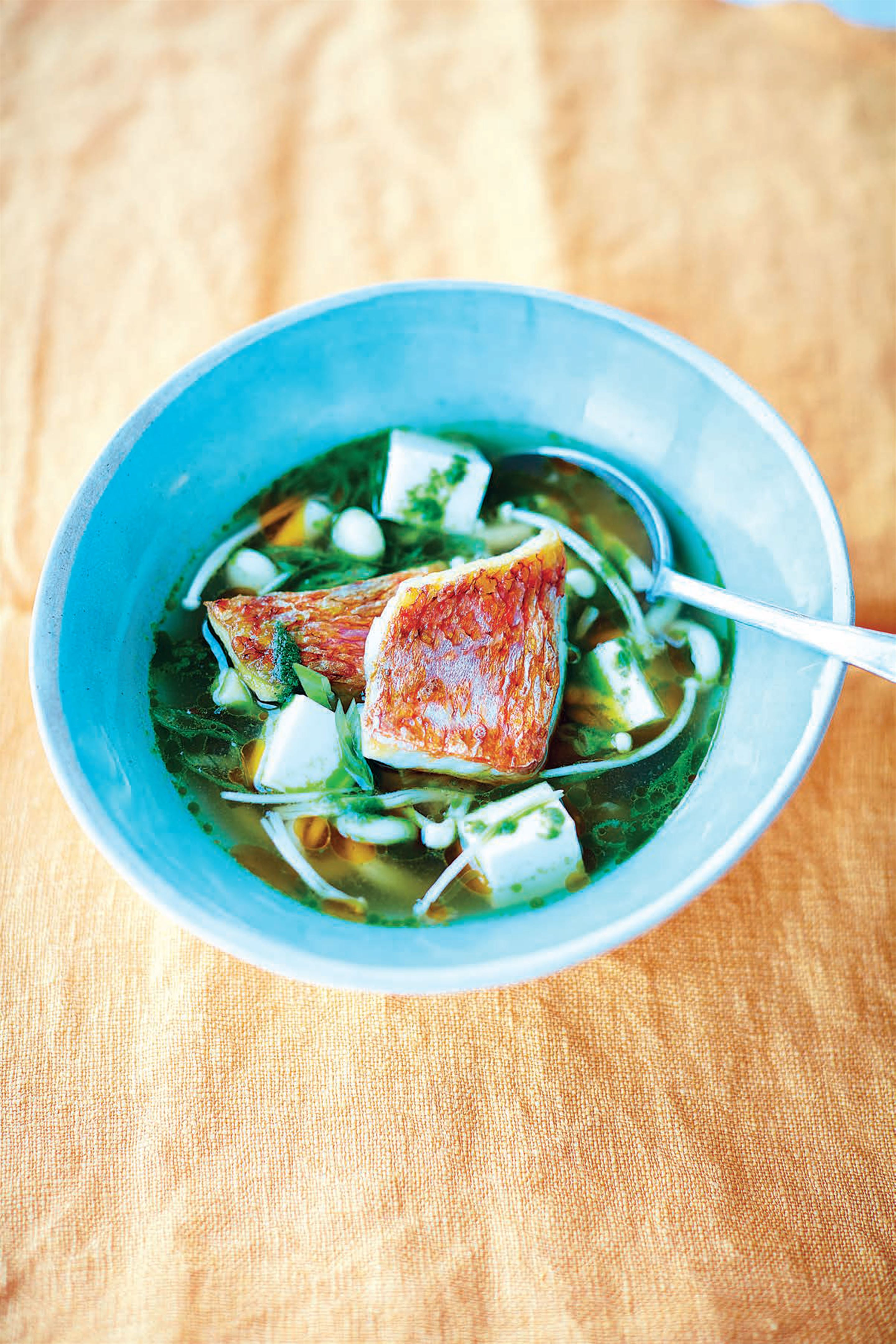 Red mullet and mushroom miso broth with shiso oil