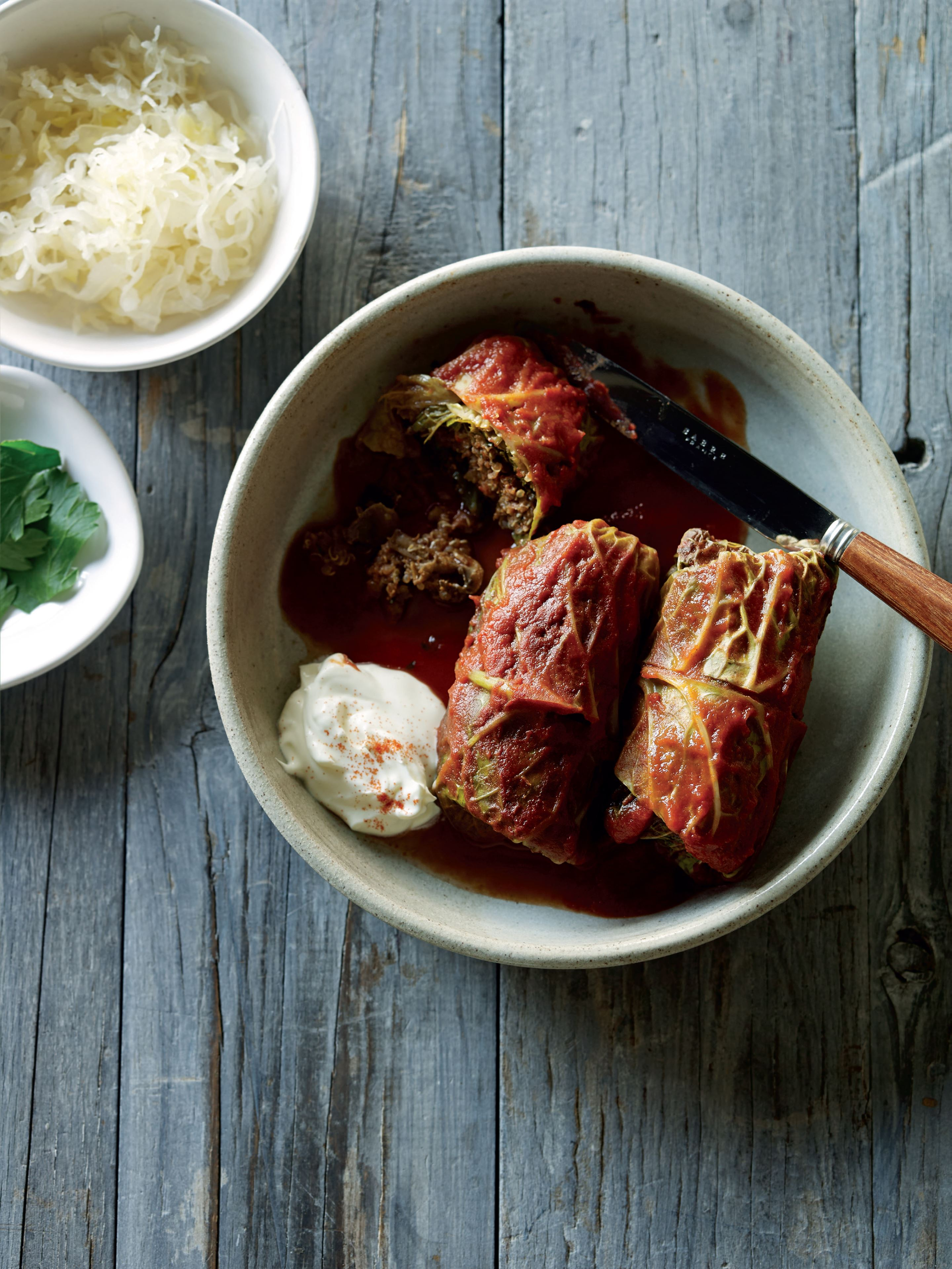 Pork, beef and mushroom-stuffed cabbage rolls