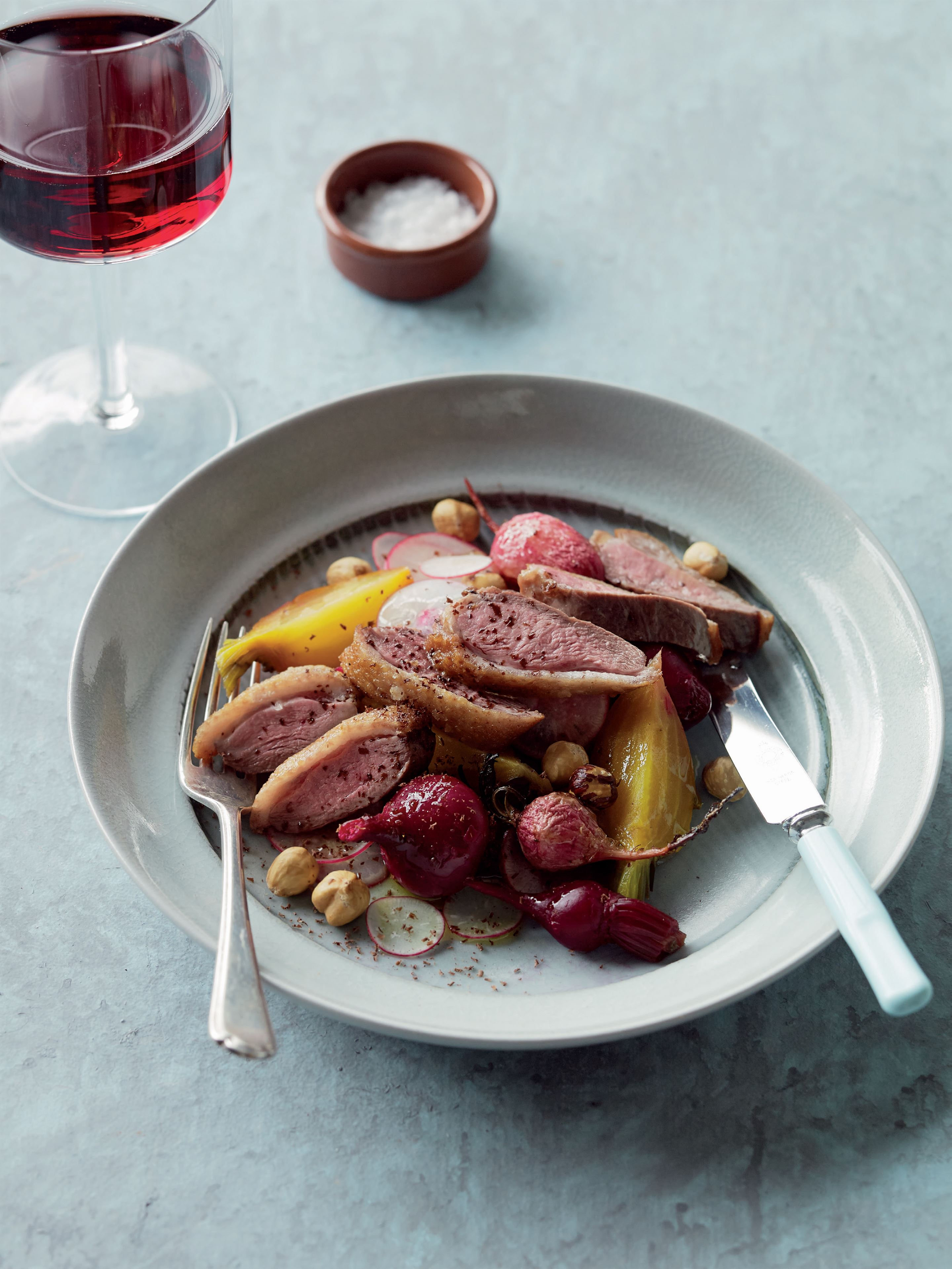 Duck breasts with roast beetroot, radish and cocoa