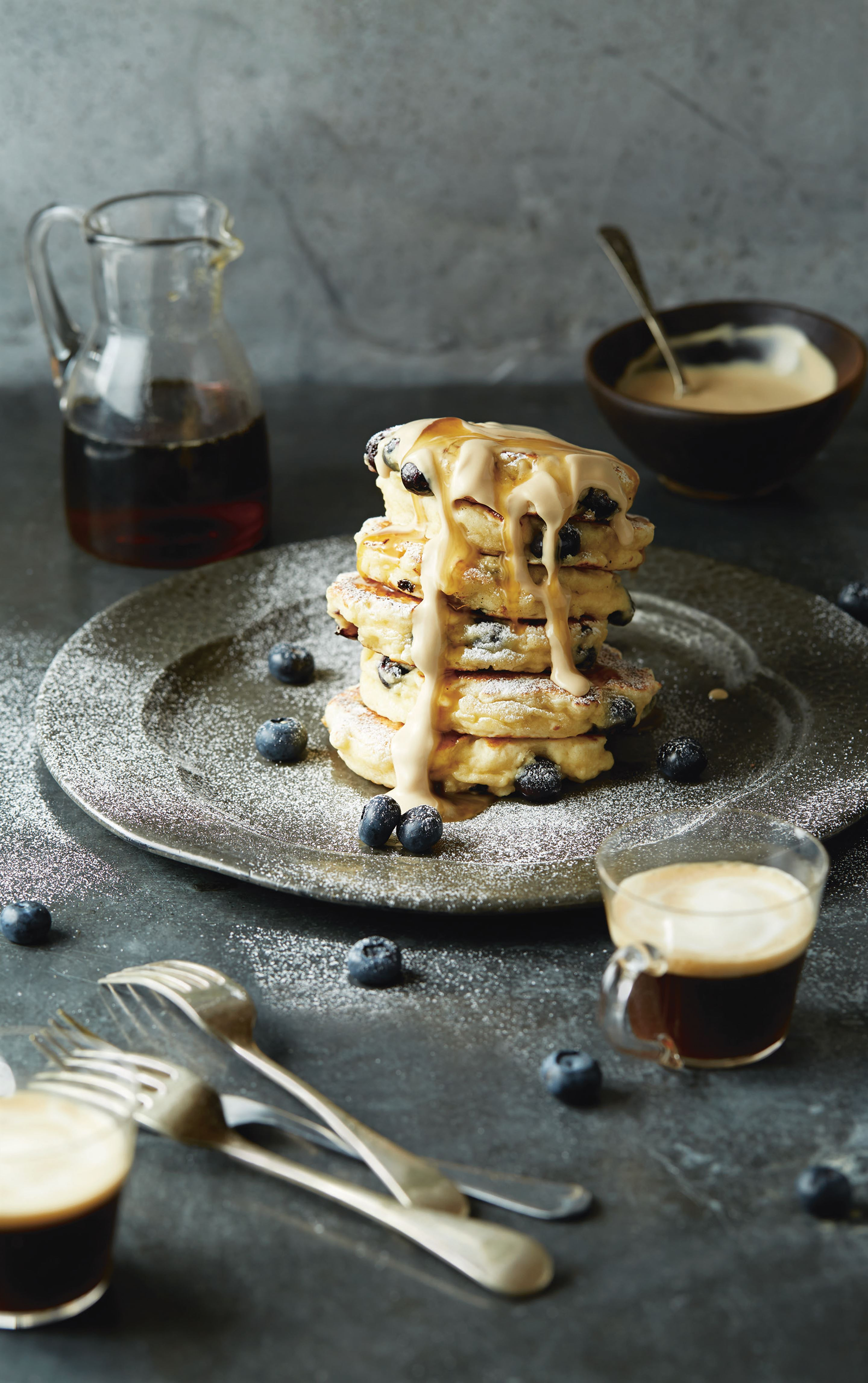 Buttermilk blueberry hotcakes with coffee mascarpone