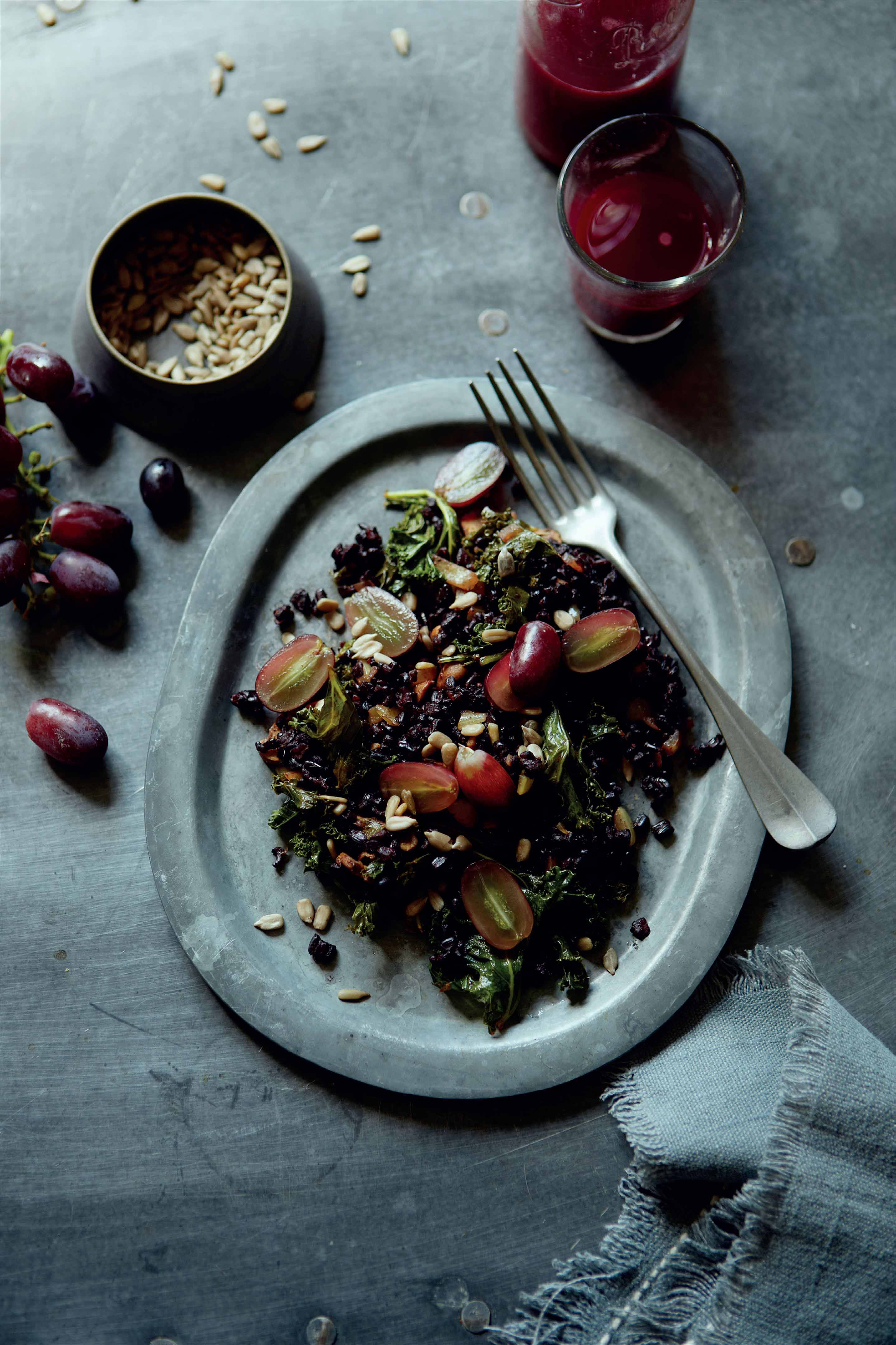 Black rice, kale, seed and red grape pilaf