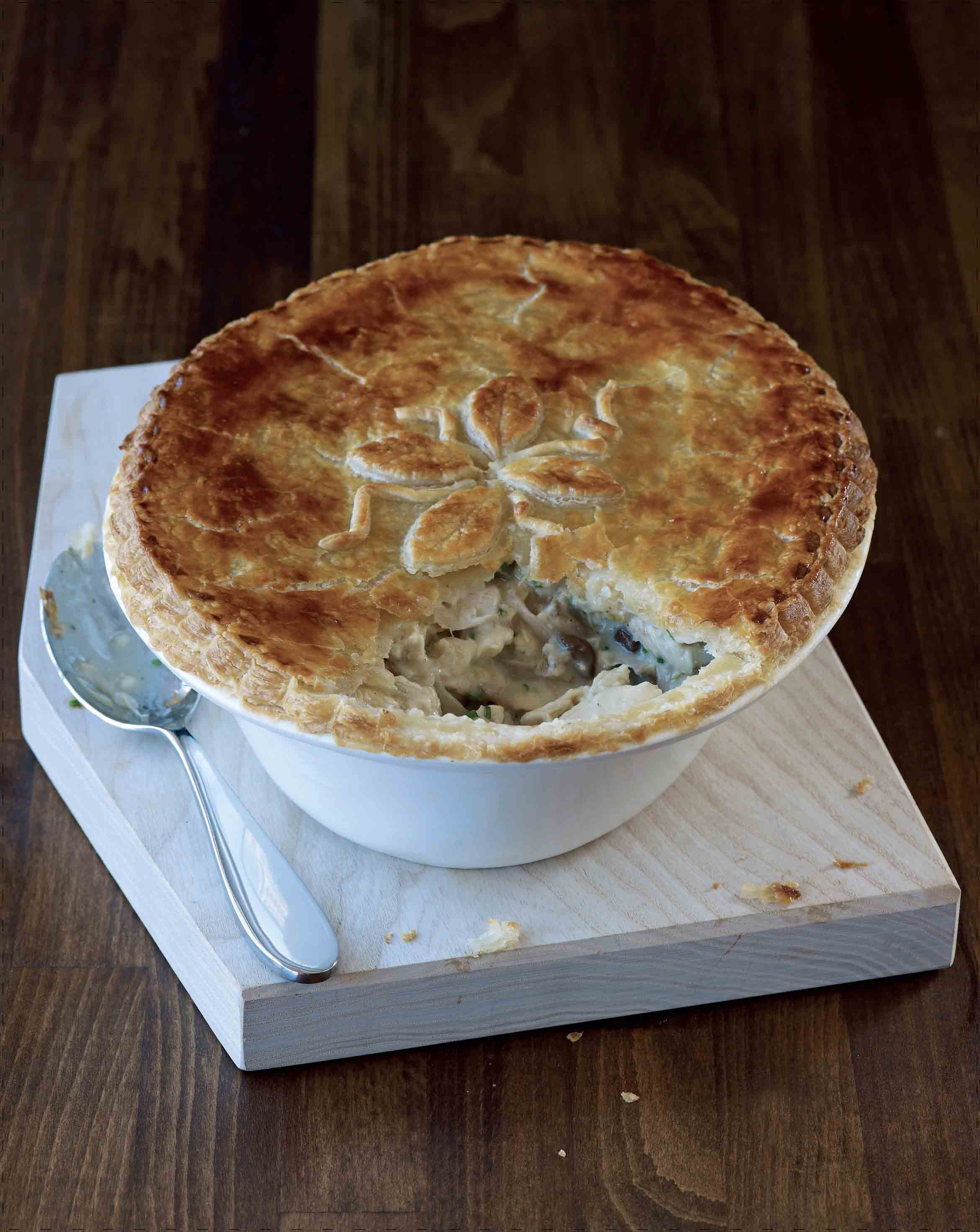 Chicken, wild mushroom and chive pie