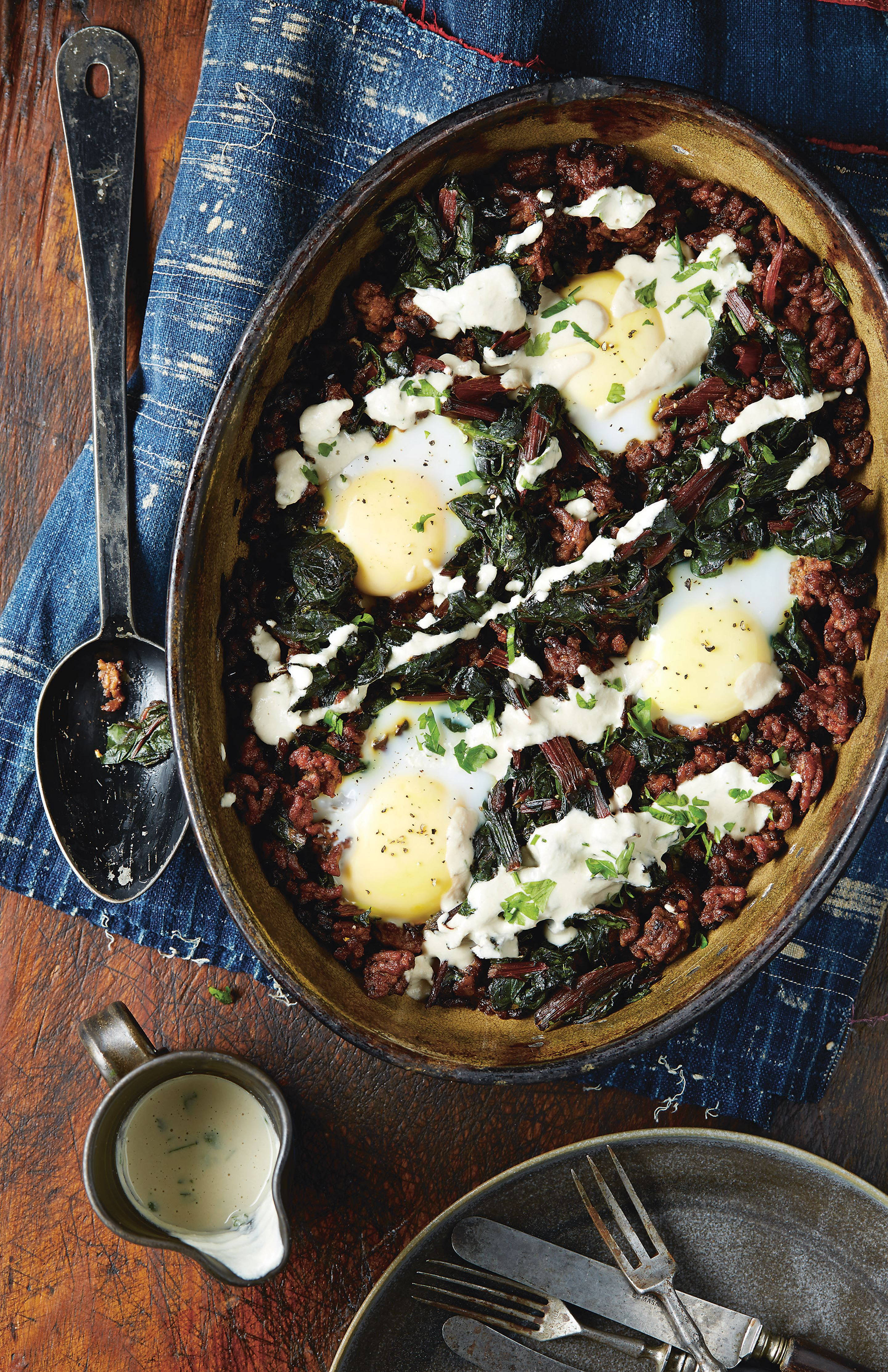 Beef, chard and egg casserole