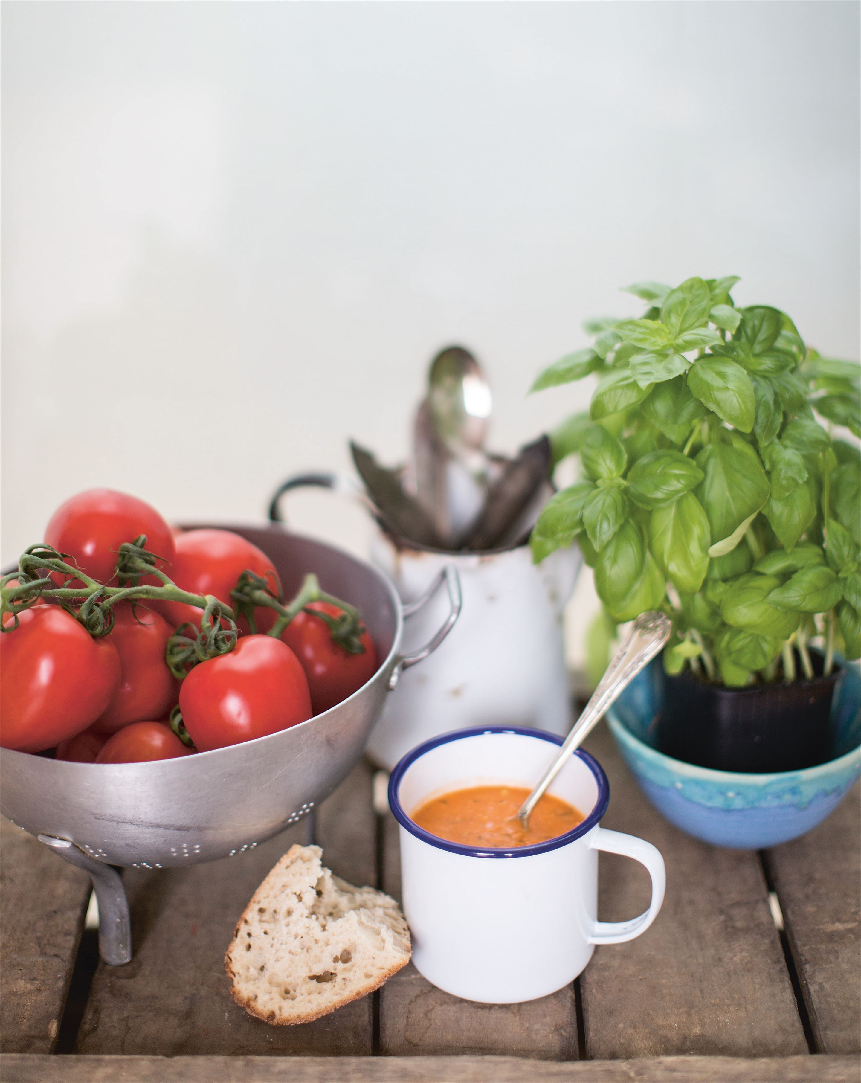 Tomato, rocket and feta soup