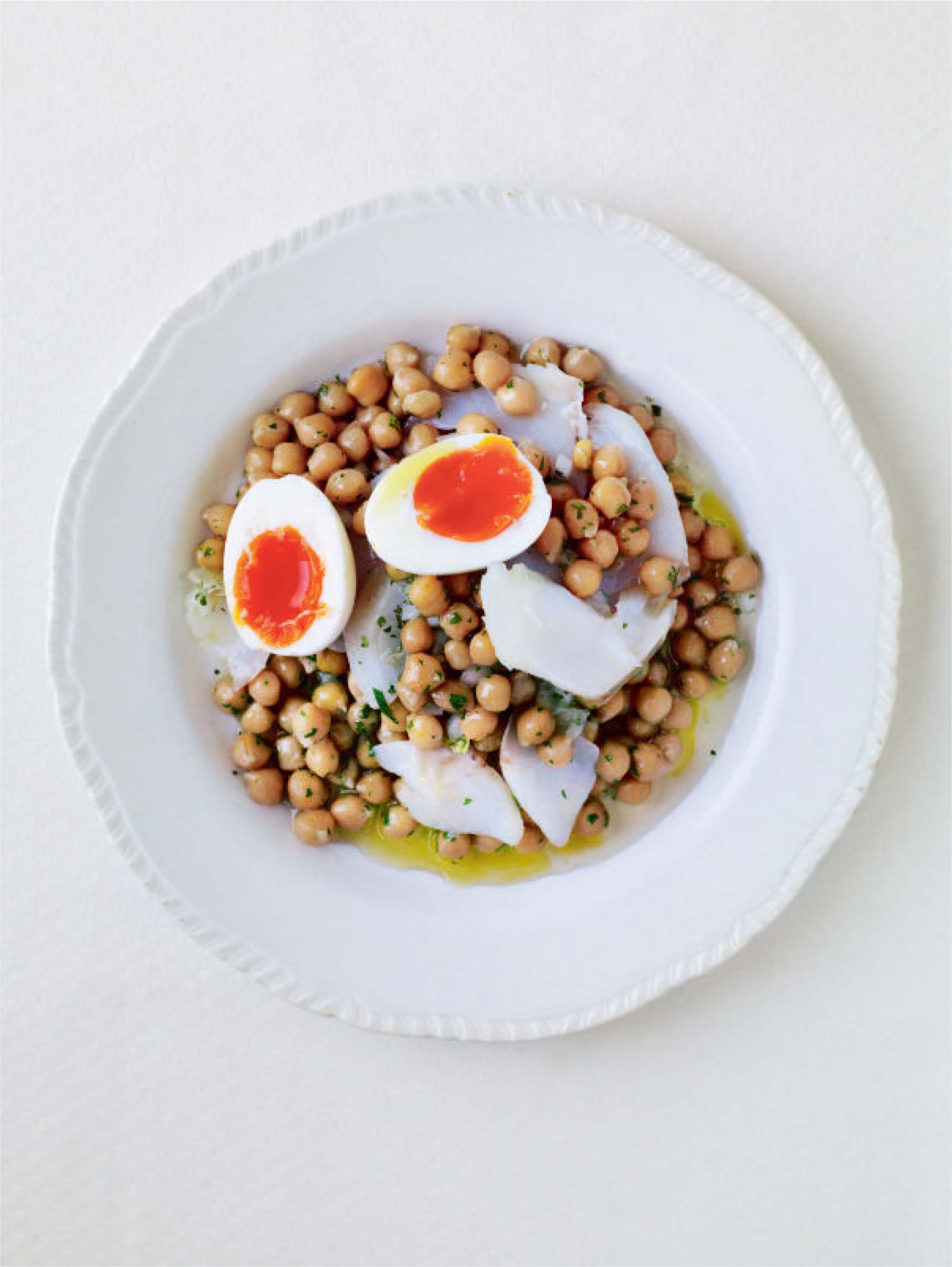 Confit cod, egg and chickpea salad