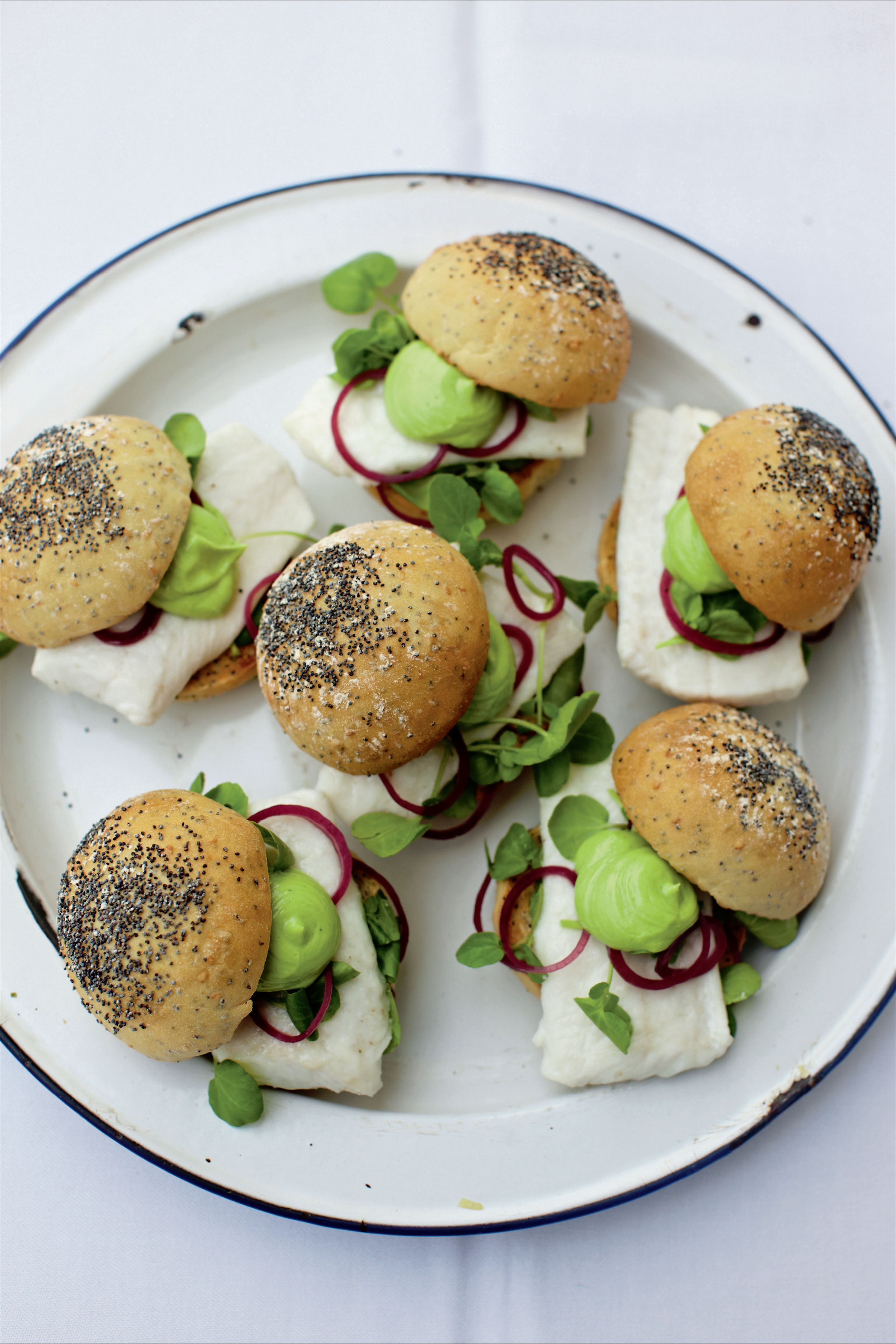 Megrim in a roll with watercress, shallot and tarragon mayonnaise
