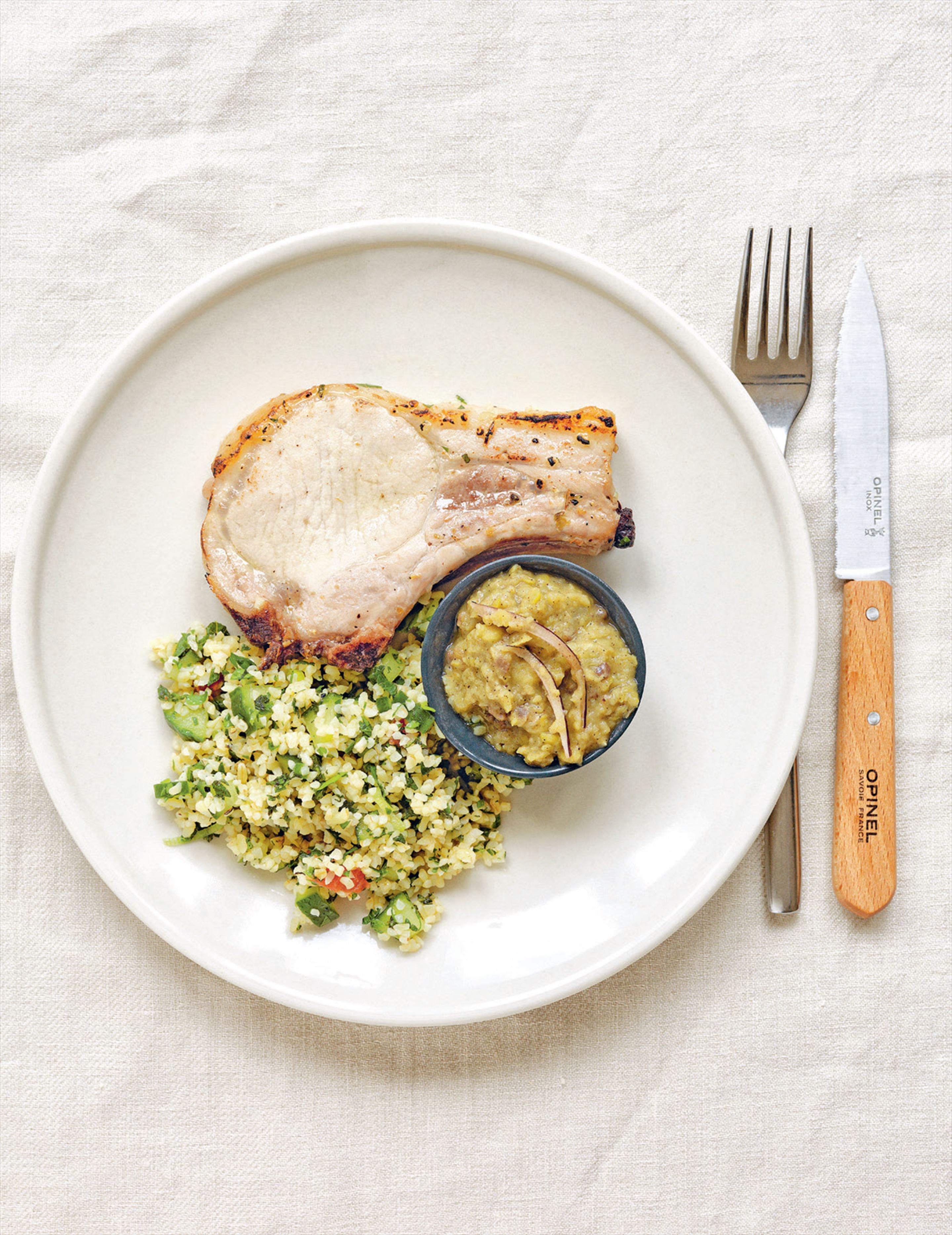 Oregano & lemon pork chops with garlicky split pea purée & tabouleh