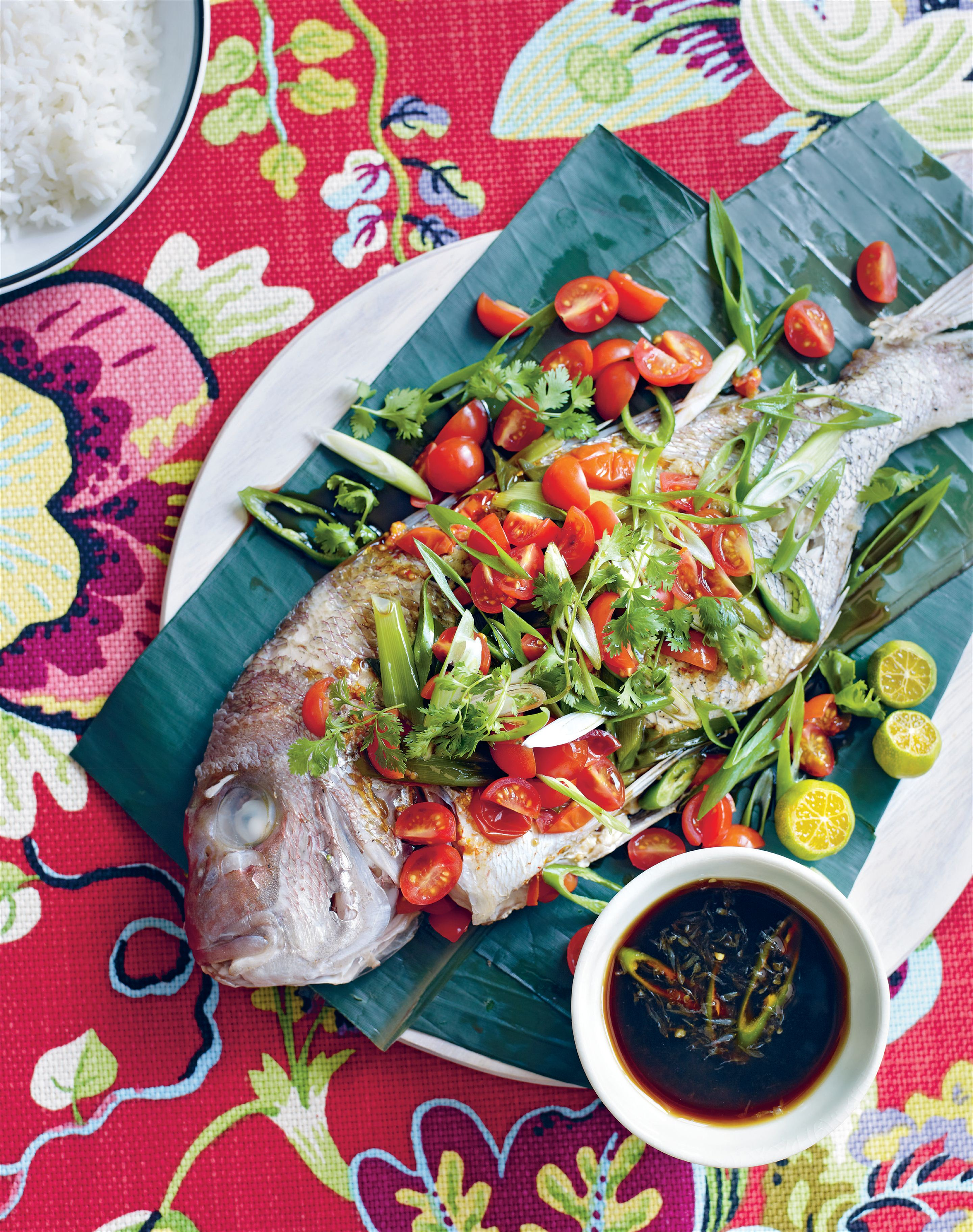 Snapper in banana leaves