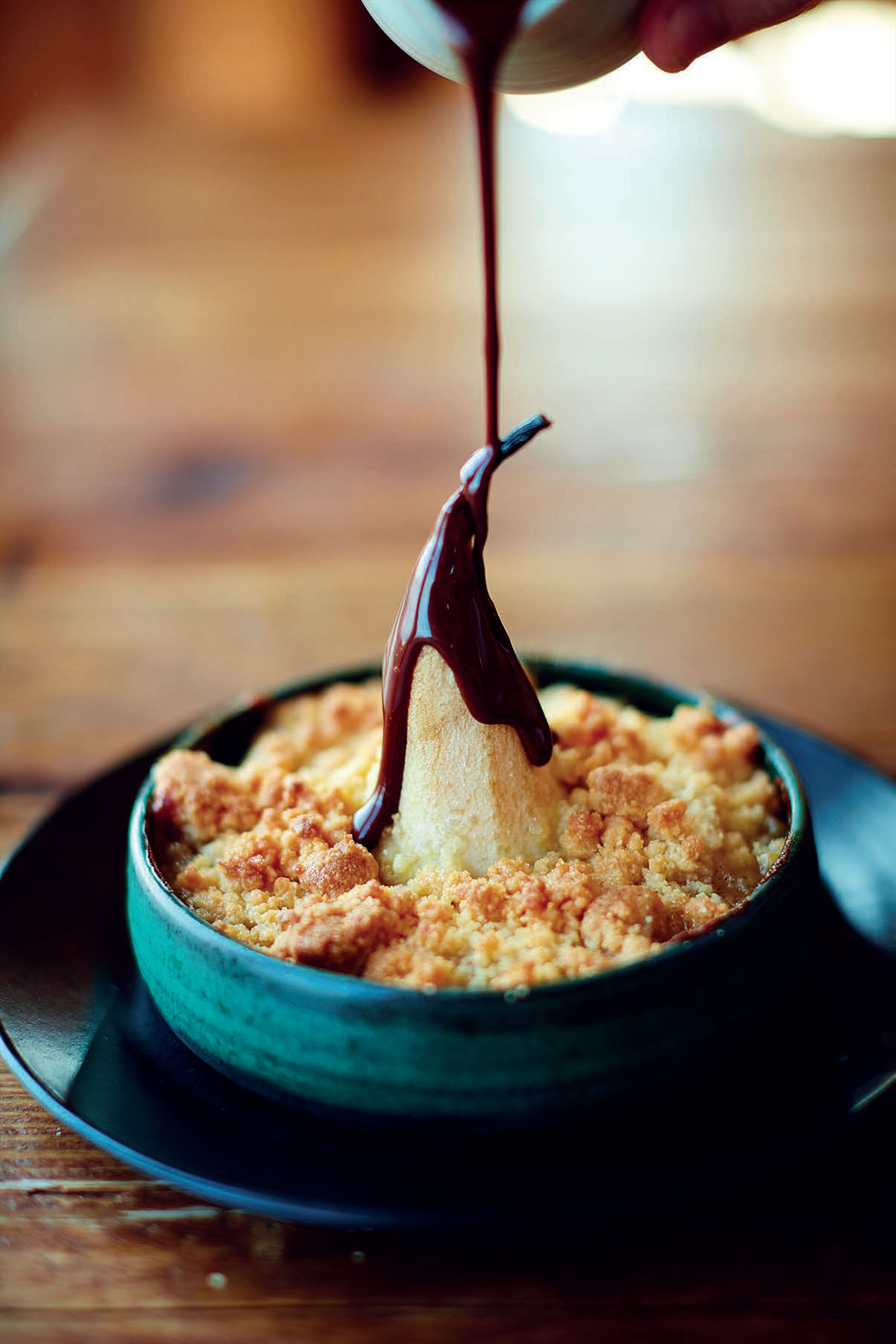 Pear crumble with earl grey chocolate sauce