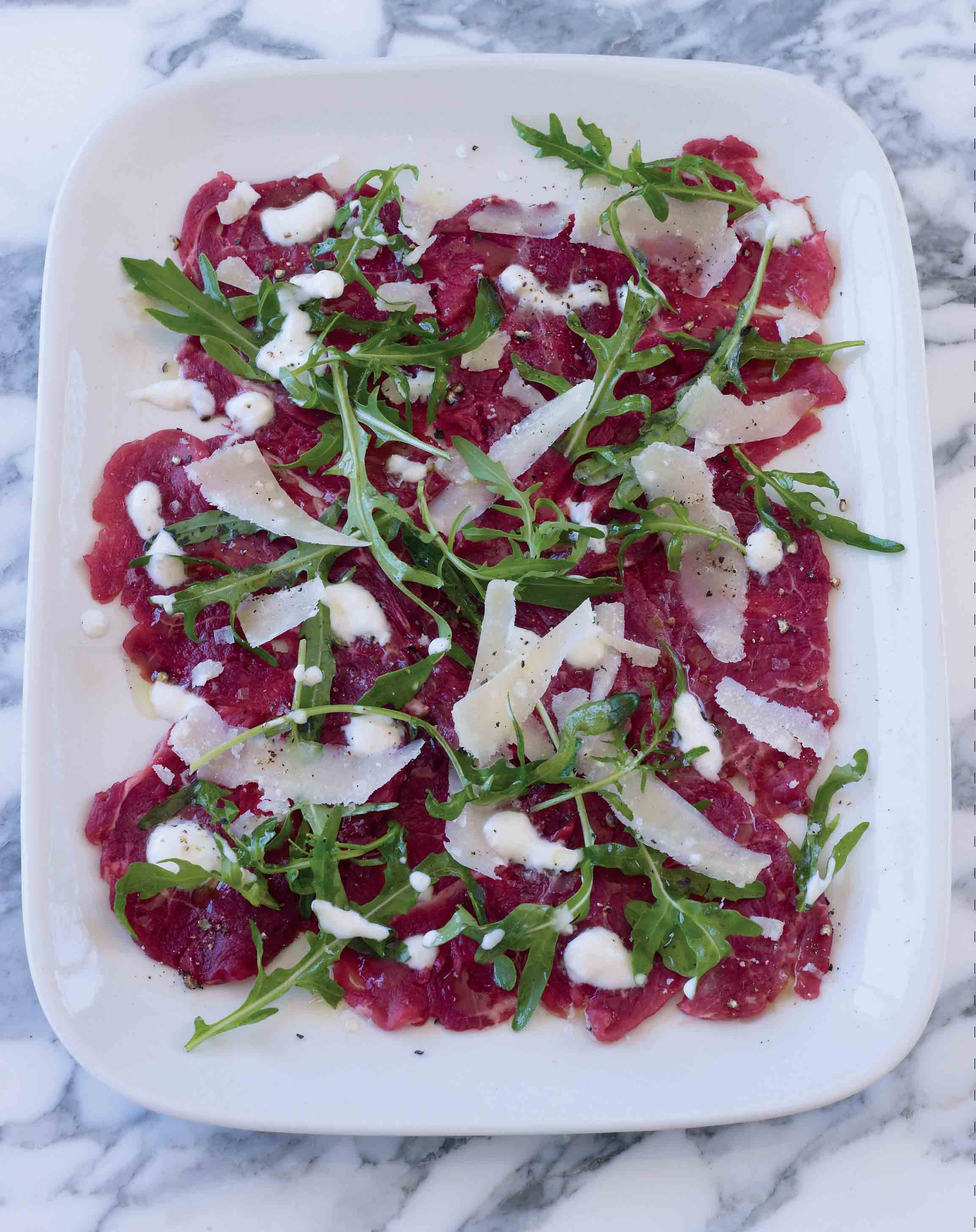 Beef carpaccio with horseradish dressing
