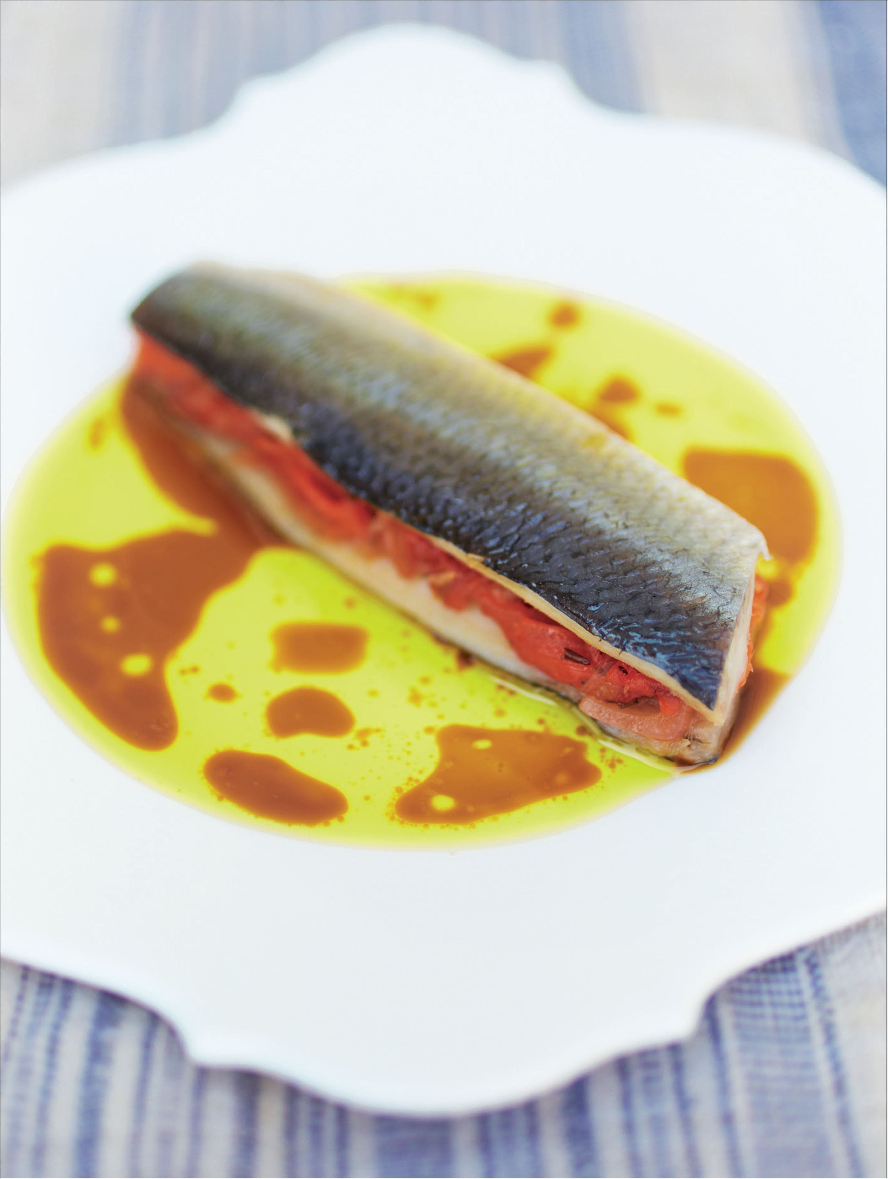 Pickled herring with red pepper marmalade and shellfish dressing