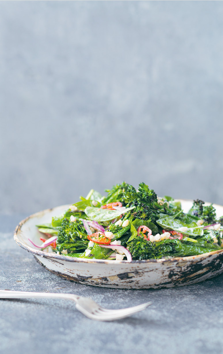 Broccolini and pearl barley with zucchini, and tahini yoghurt dressing
