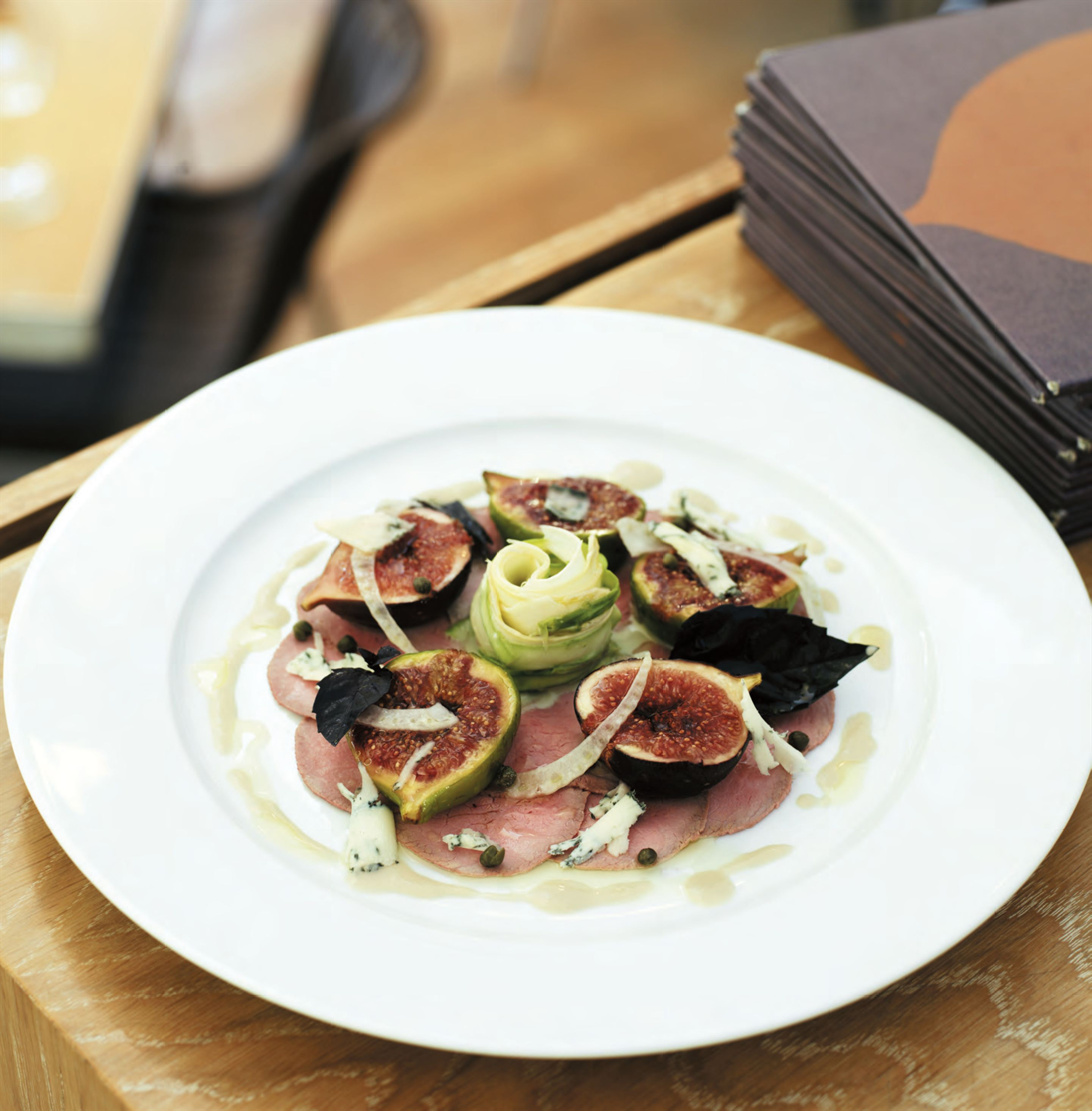 Vitello tonnato with shaved asparagus, figs and gorgonzola