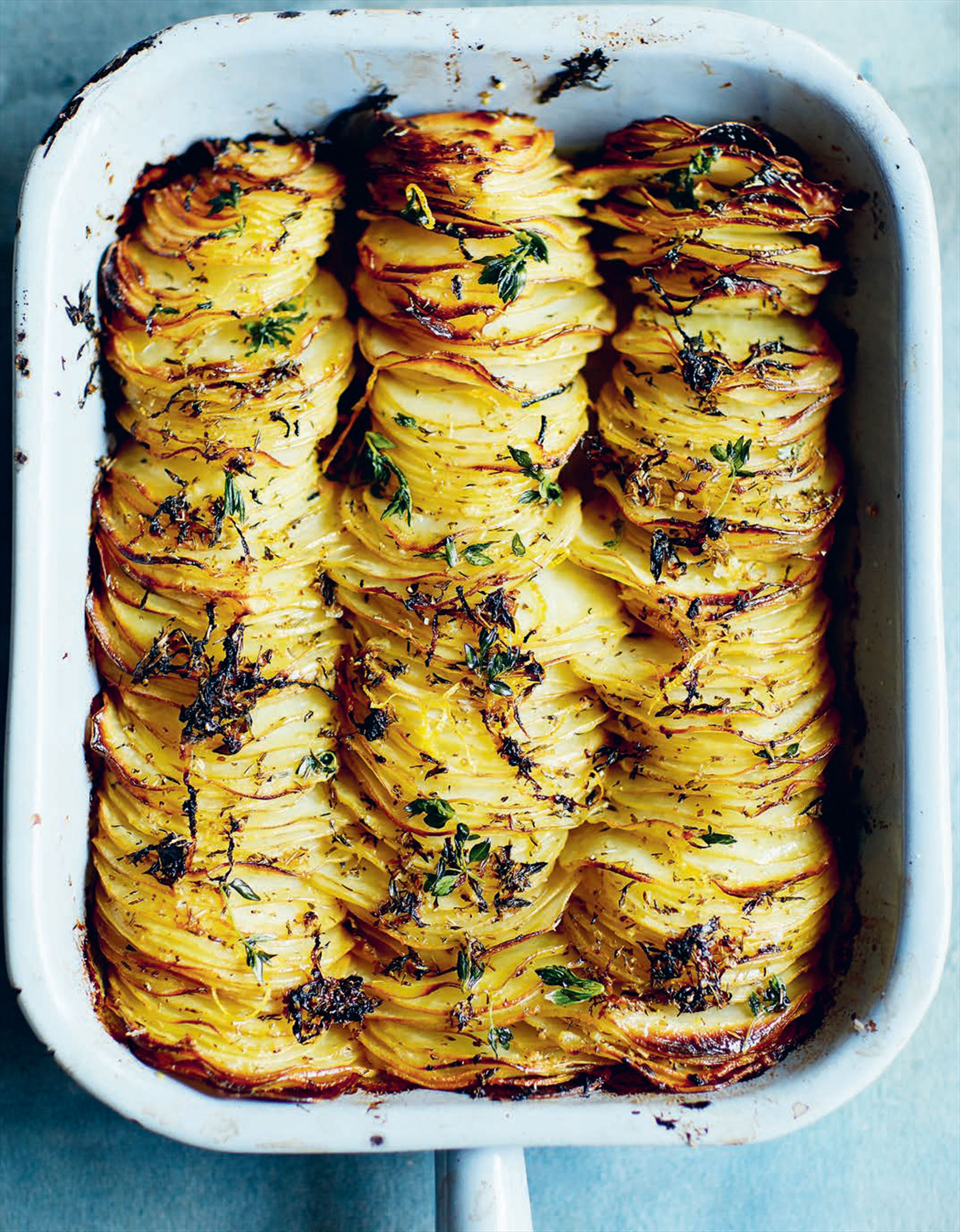 Crispy sliced & stacked lemon-roasted potatoes