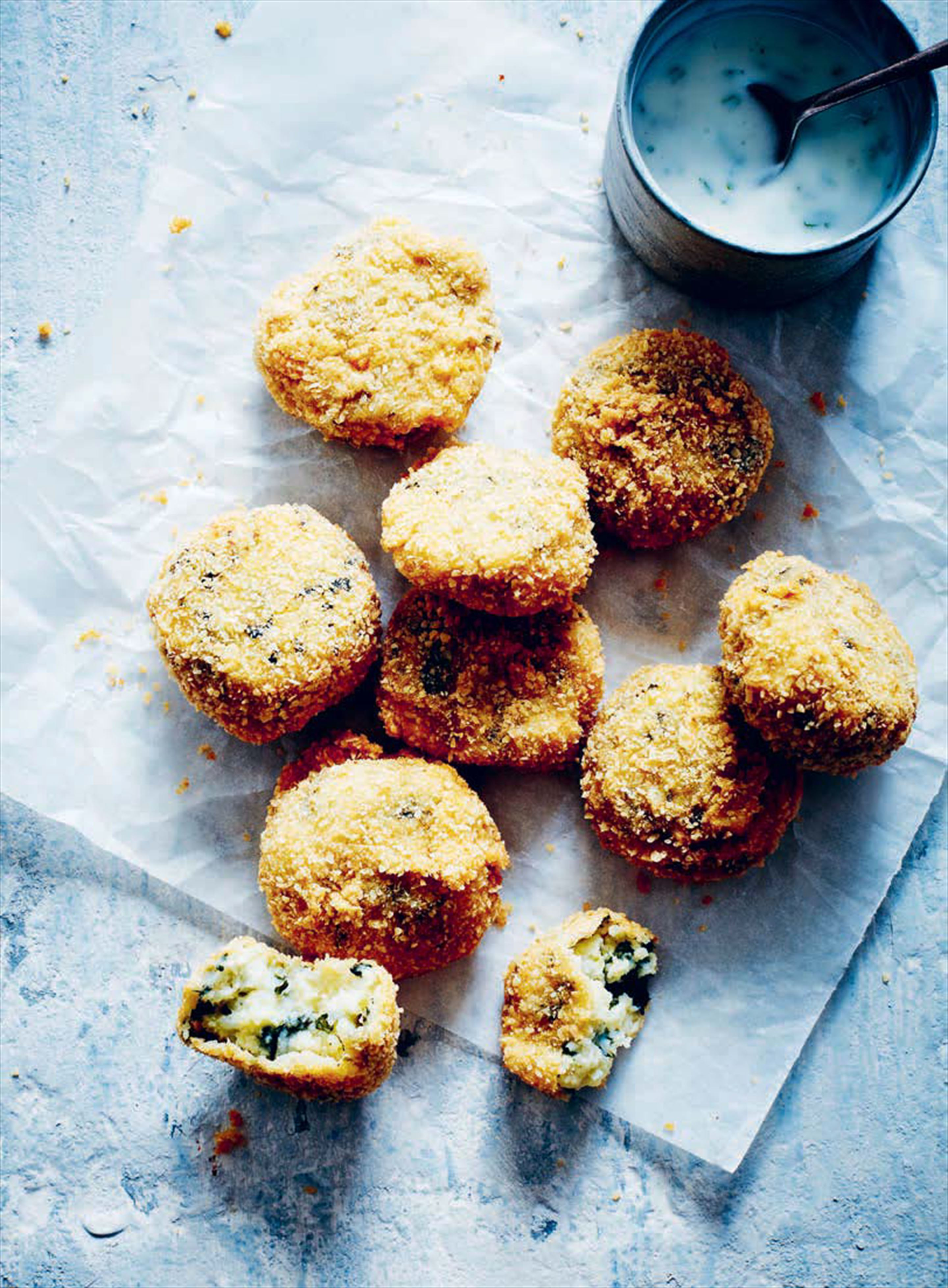 Potato and spinach croquettes