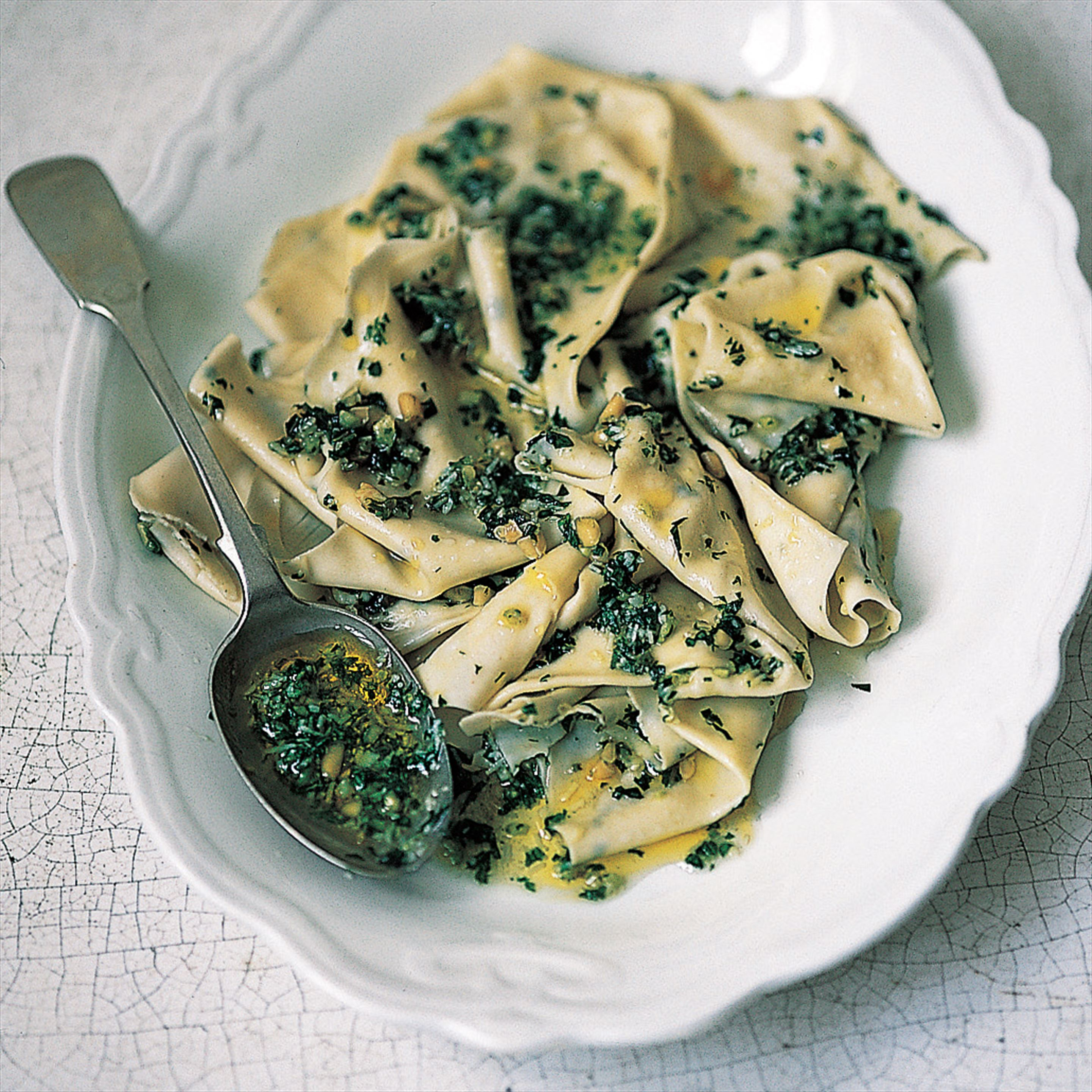Silk handkerchief pasta sheets with pesto