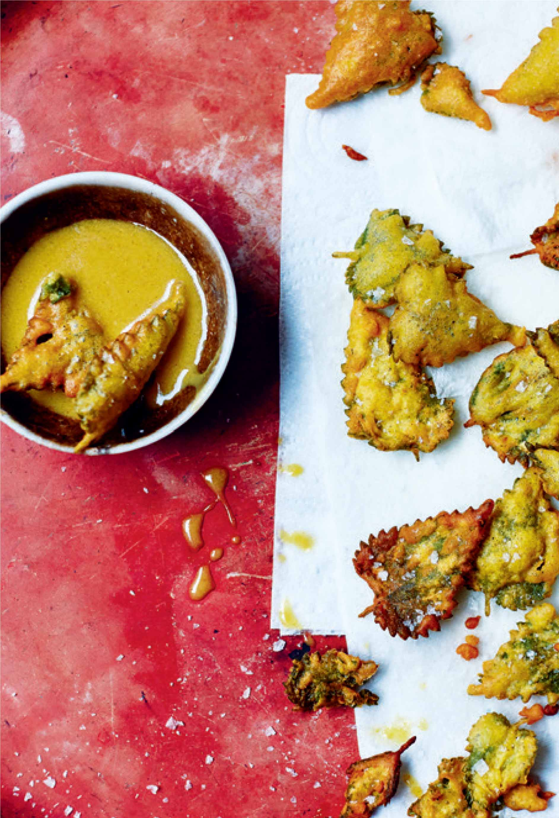 Nettle leaves in beer batter with honey mustard dip