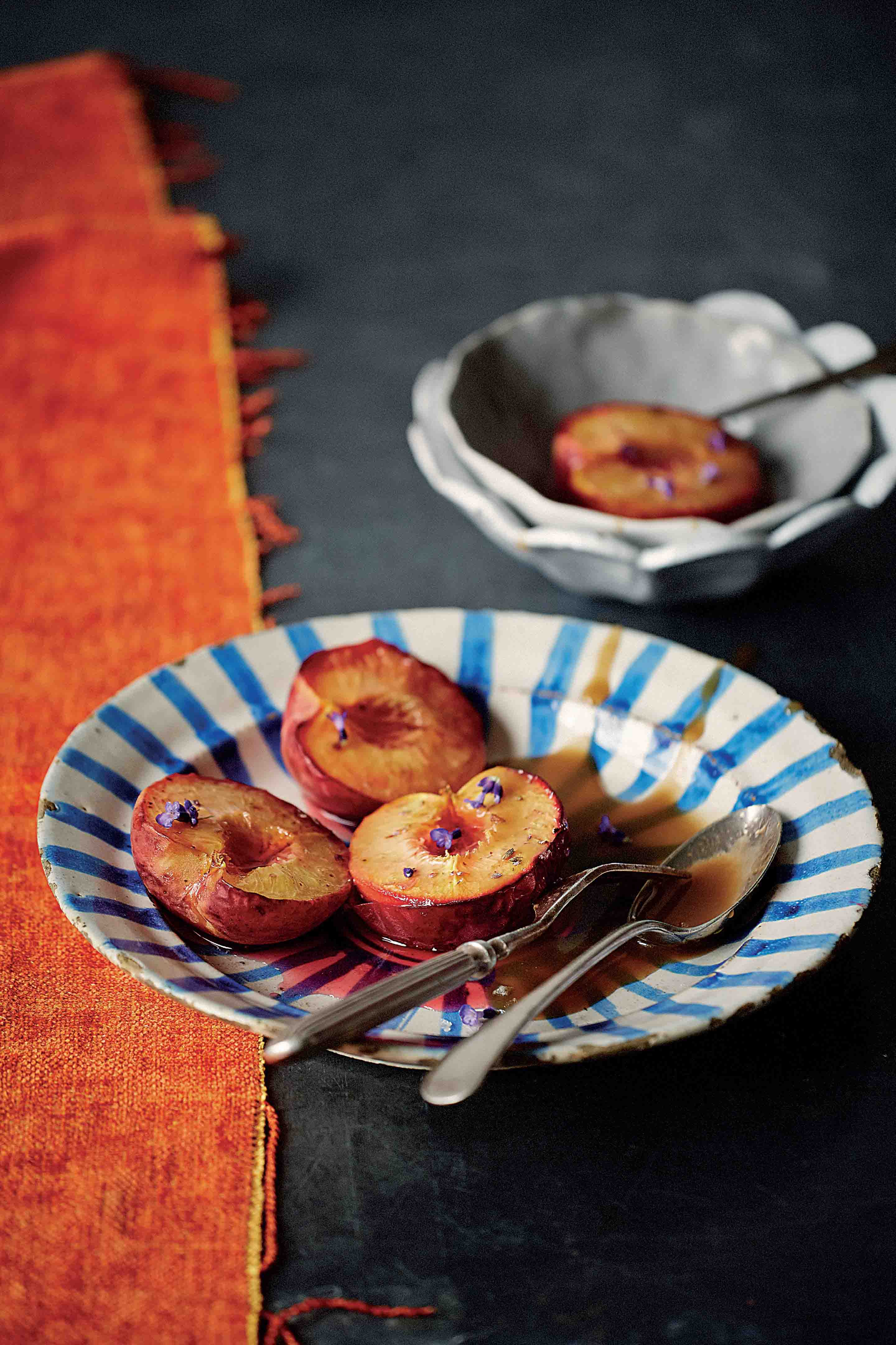 Roast peaches with lavender & coconut salted caramel