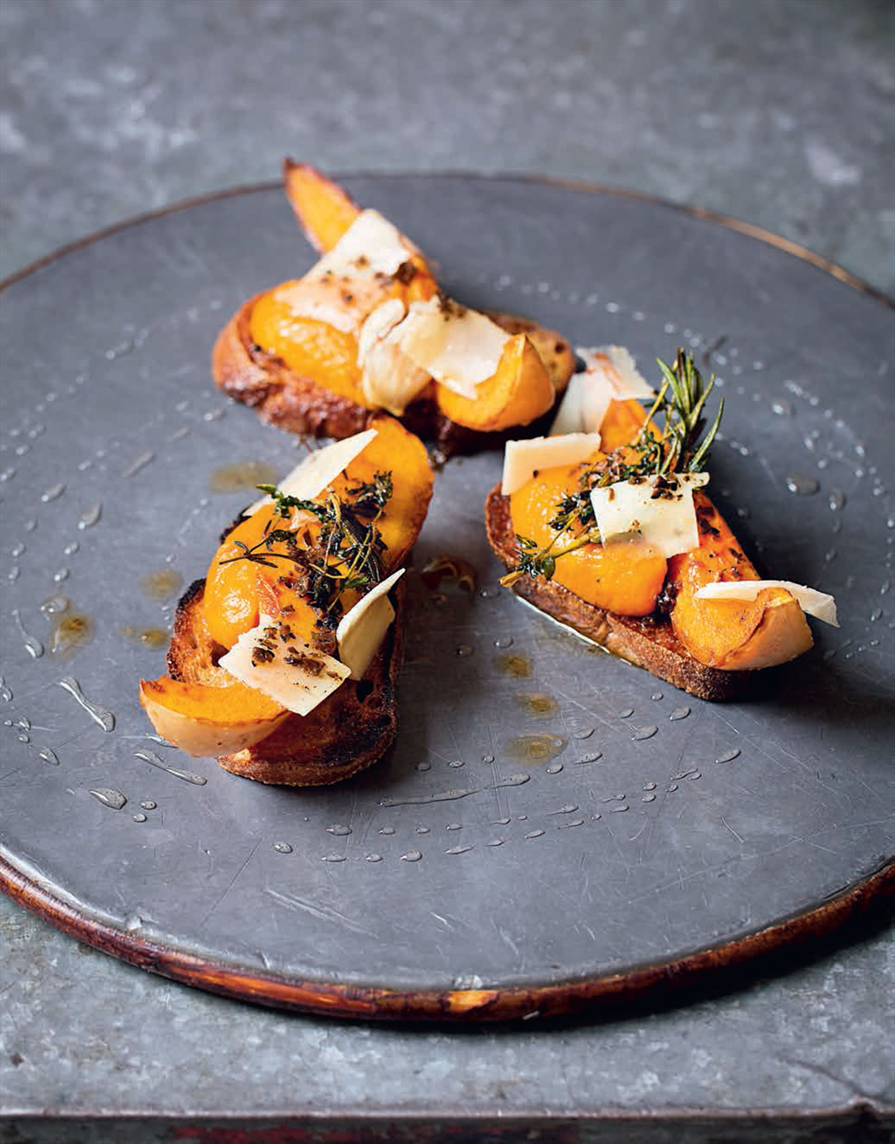 Roasted butternut squash, squash purée, parmesan, toast and thyme