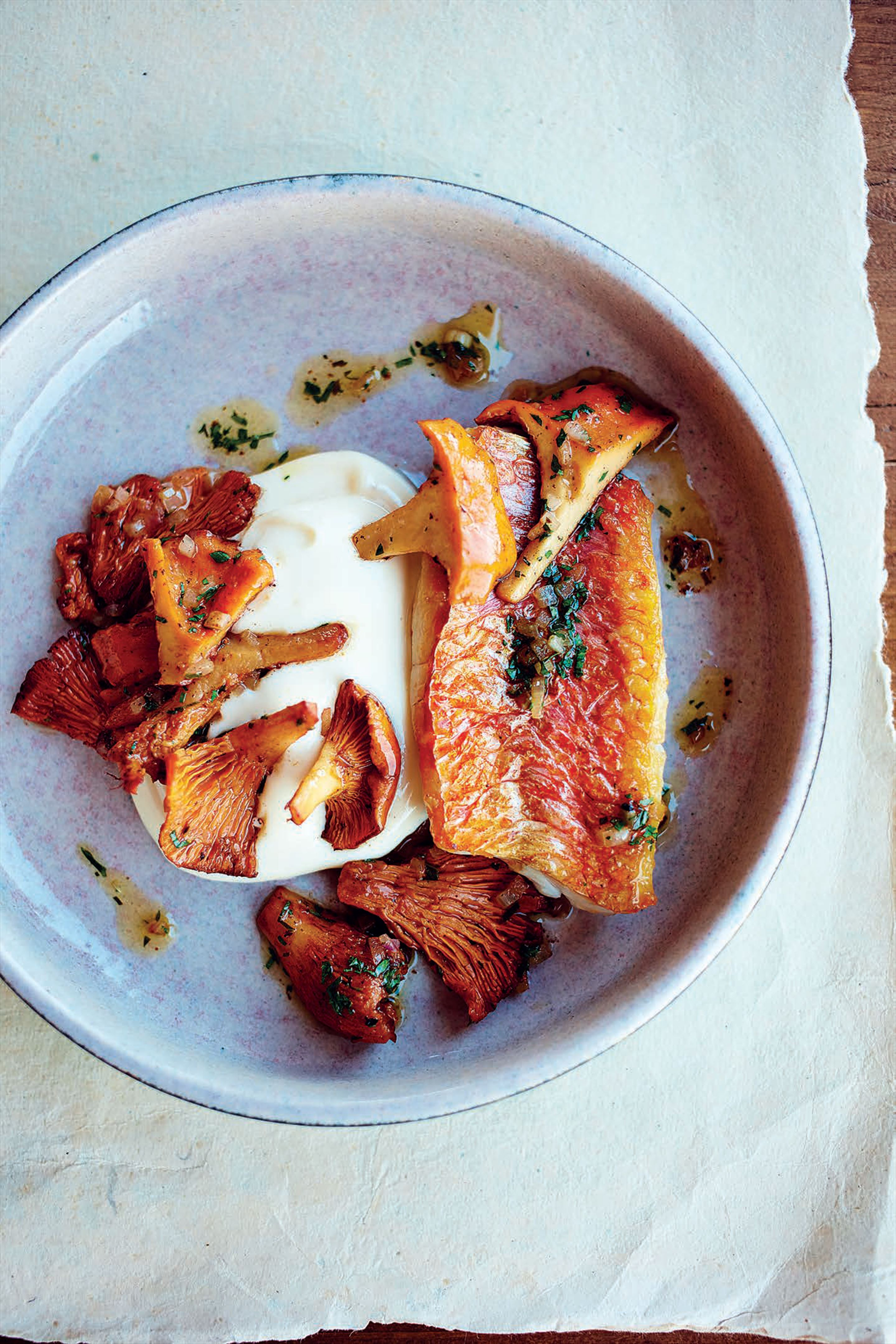 Red mullet with girolles and roasted garlic aïoli