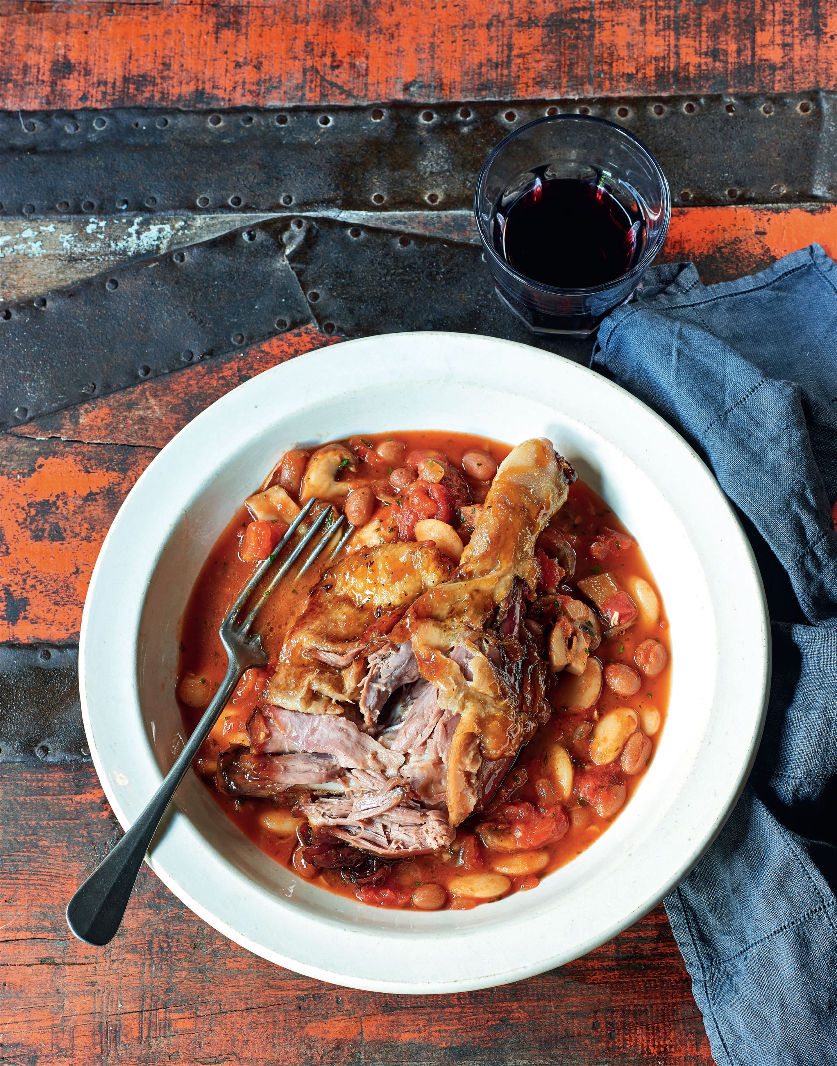 Confit duck with bean stew