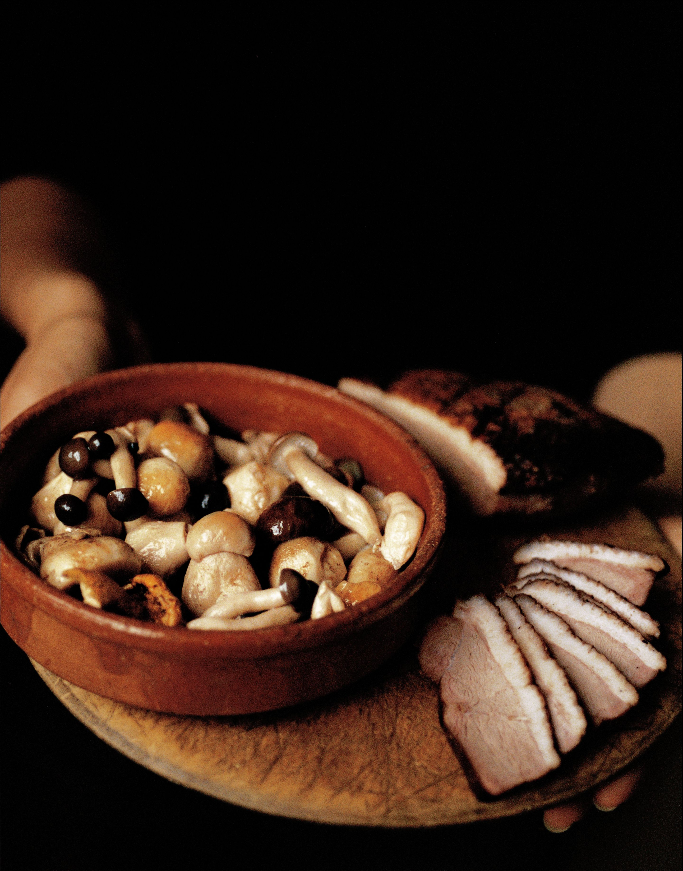 Smoked breast of duck with preserved mushrooms