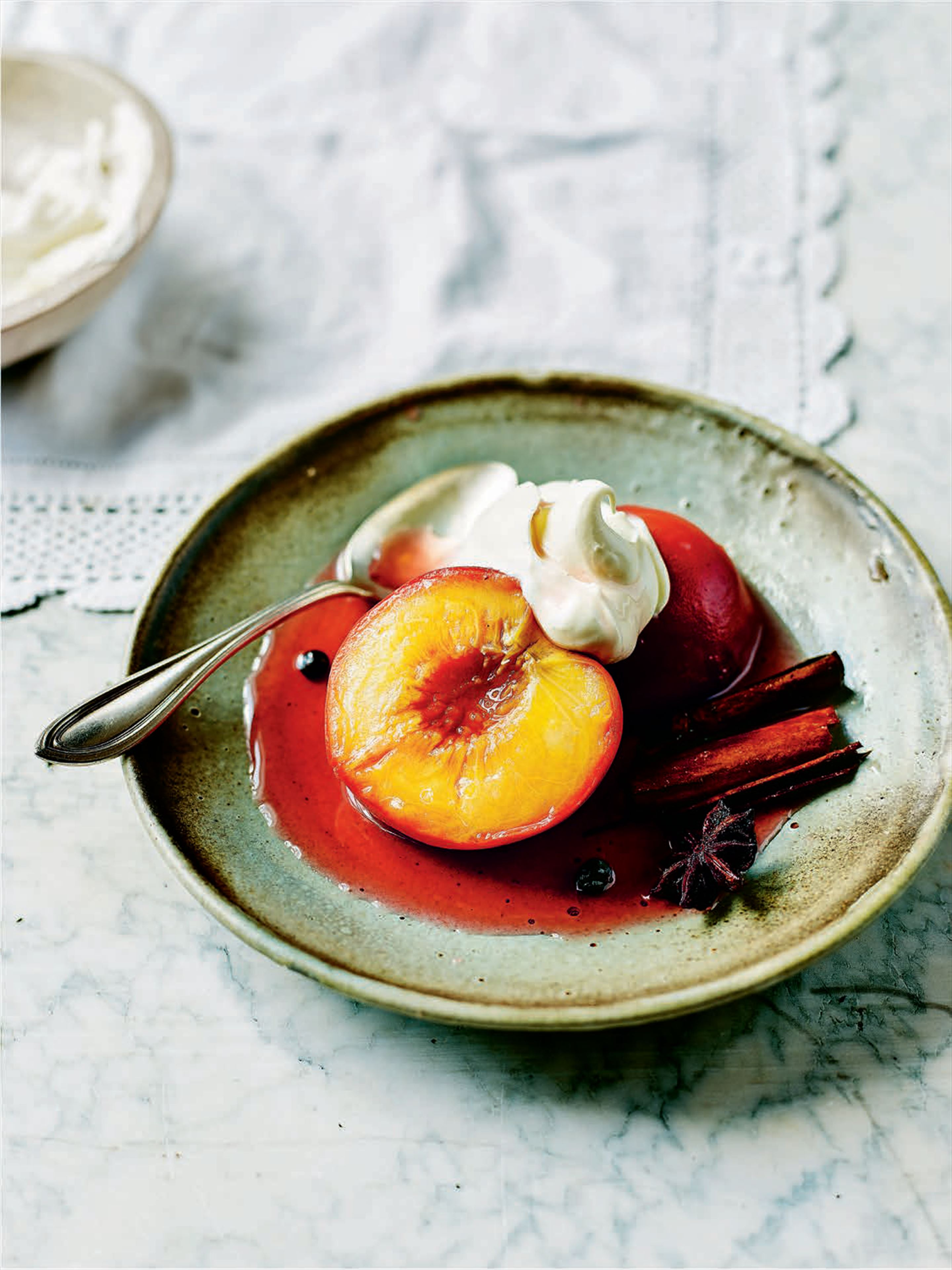 Peaches poached in muscatel wine