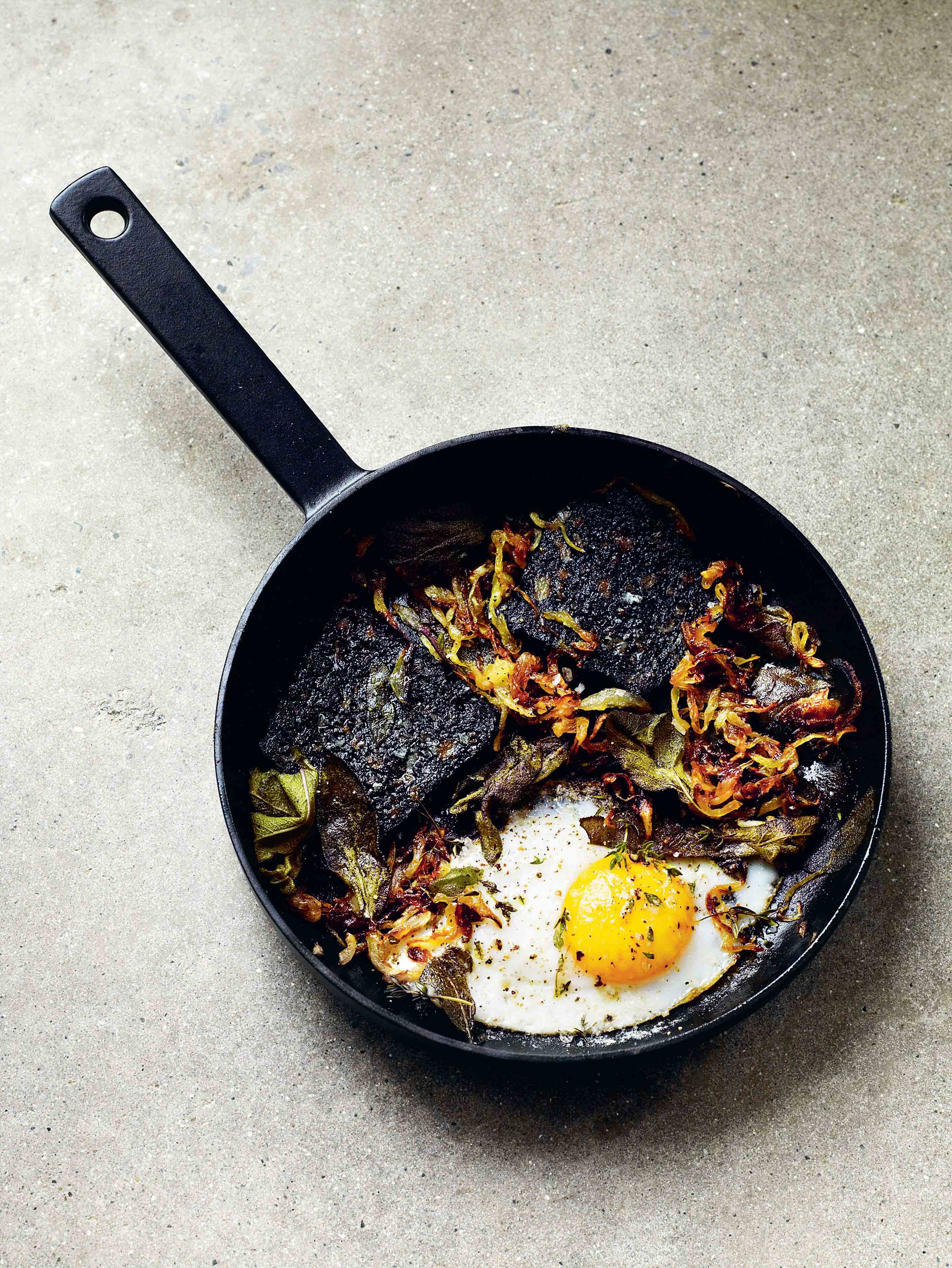 Black pudding with sage, onions & duck eggs