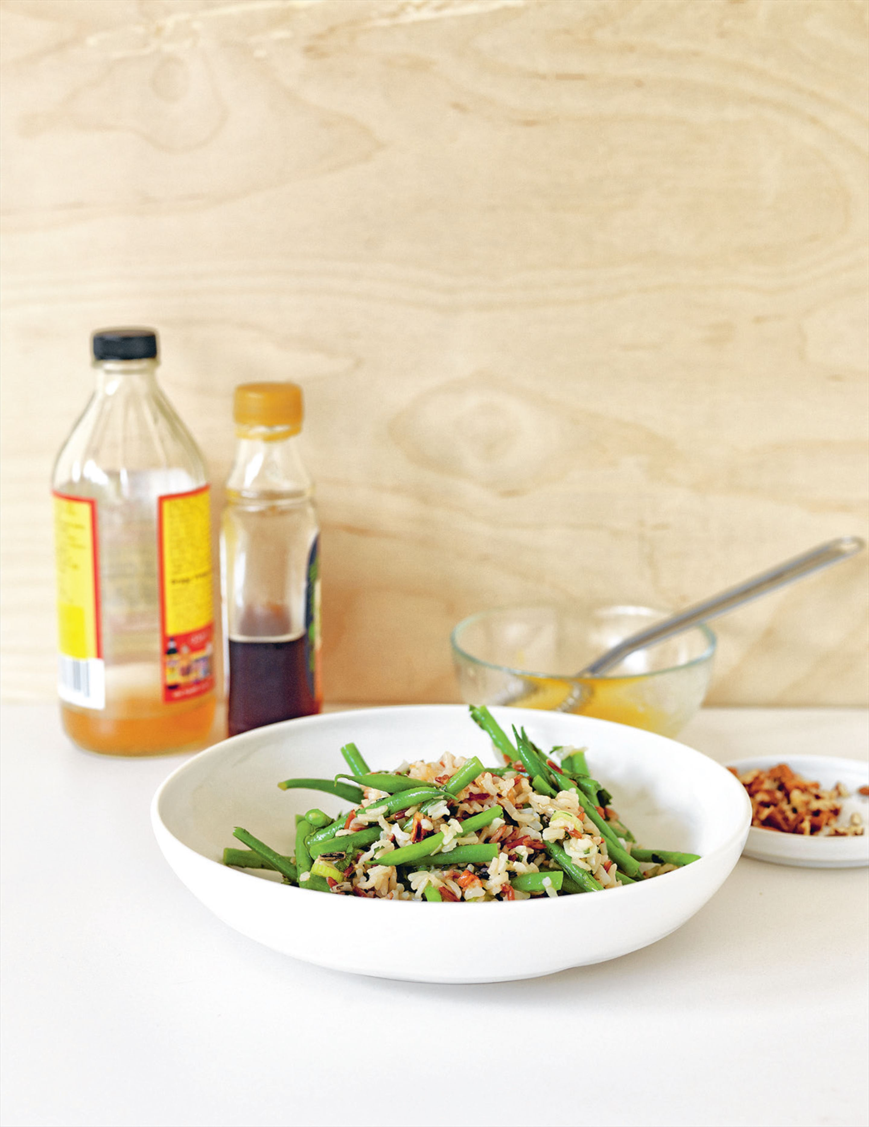 Rice, pecan & bean salad with ginger & maple dressing