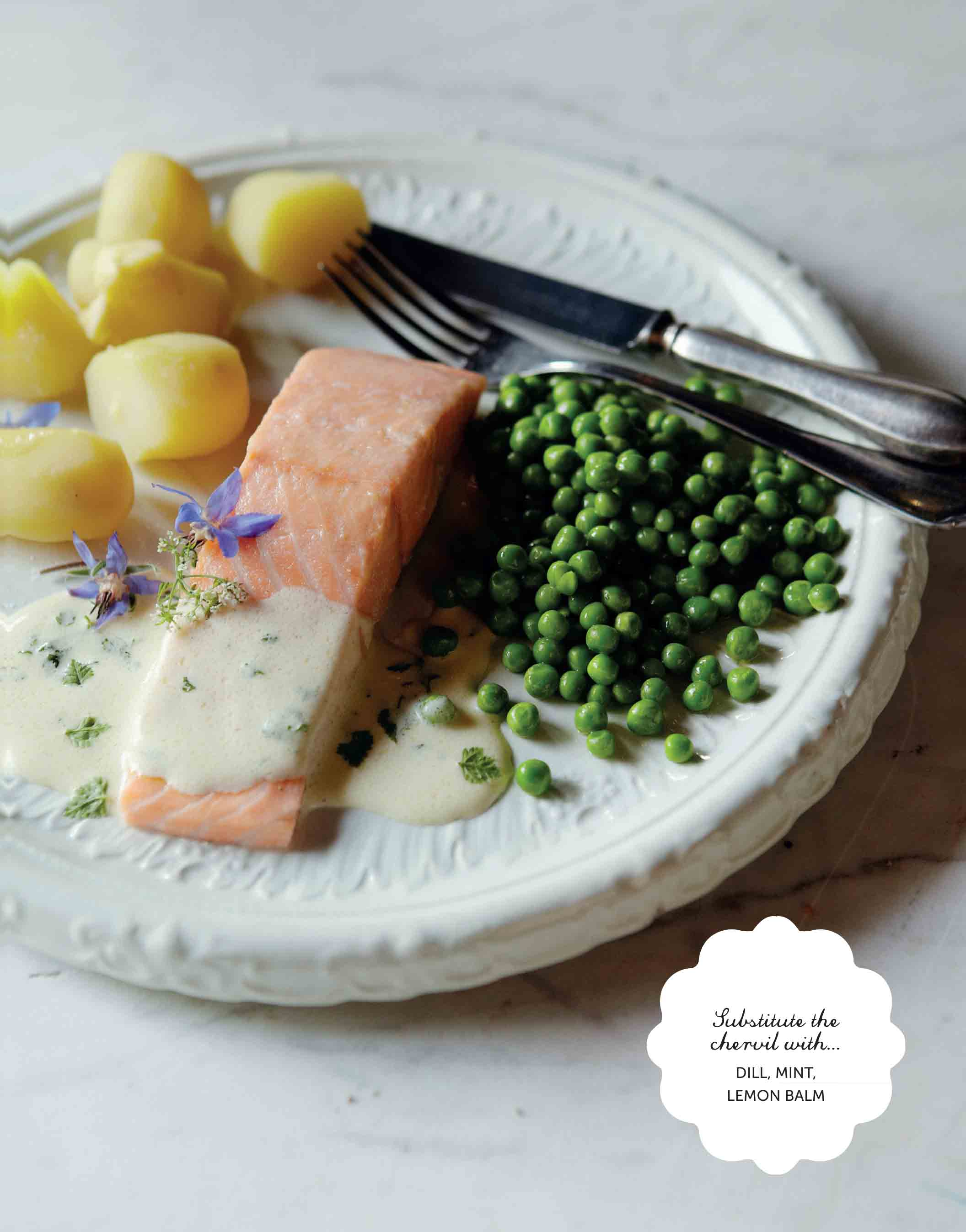Lemon and chervil poached salmon