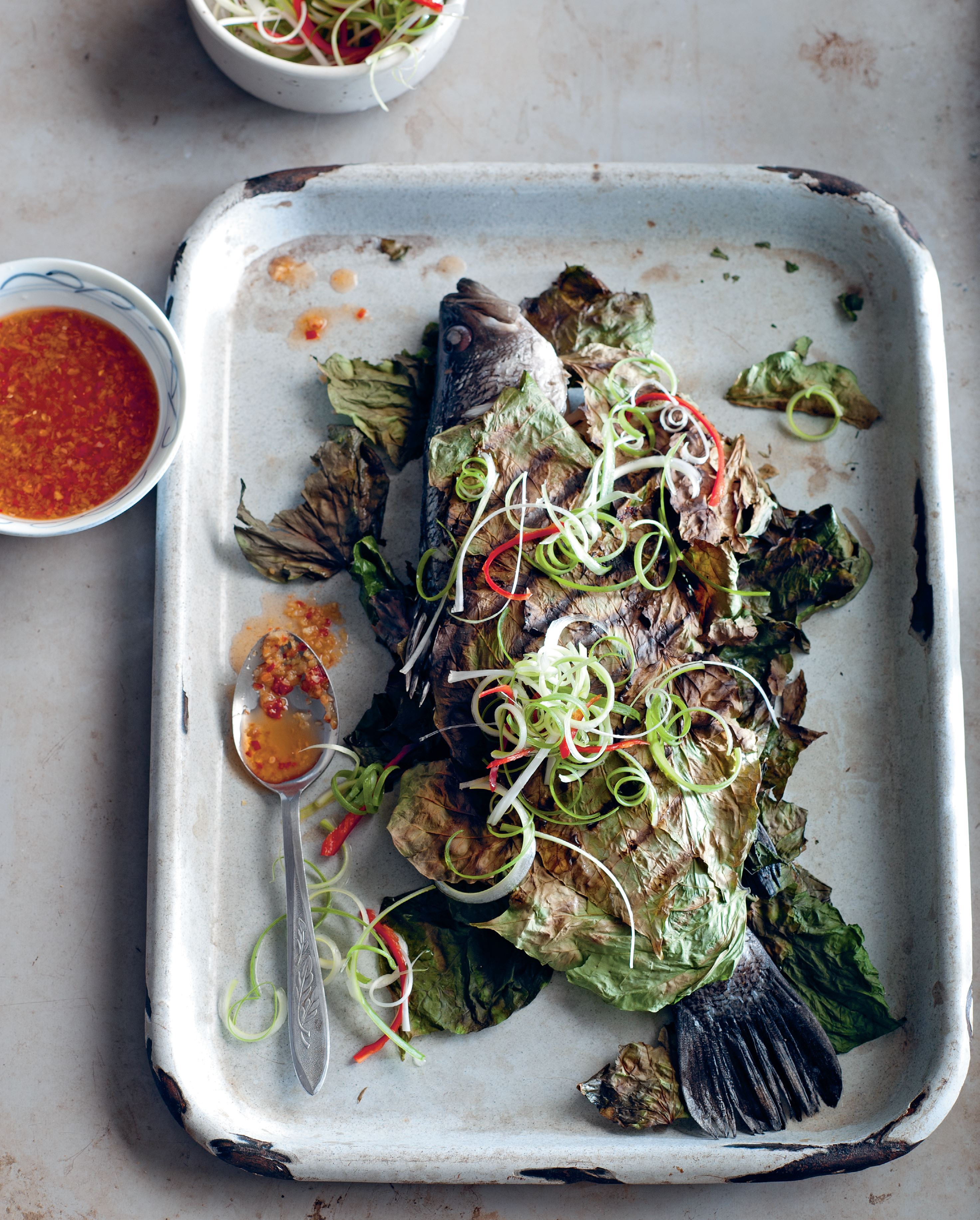 Barramundi chargrilled in betel leaves
