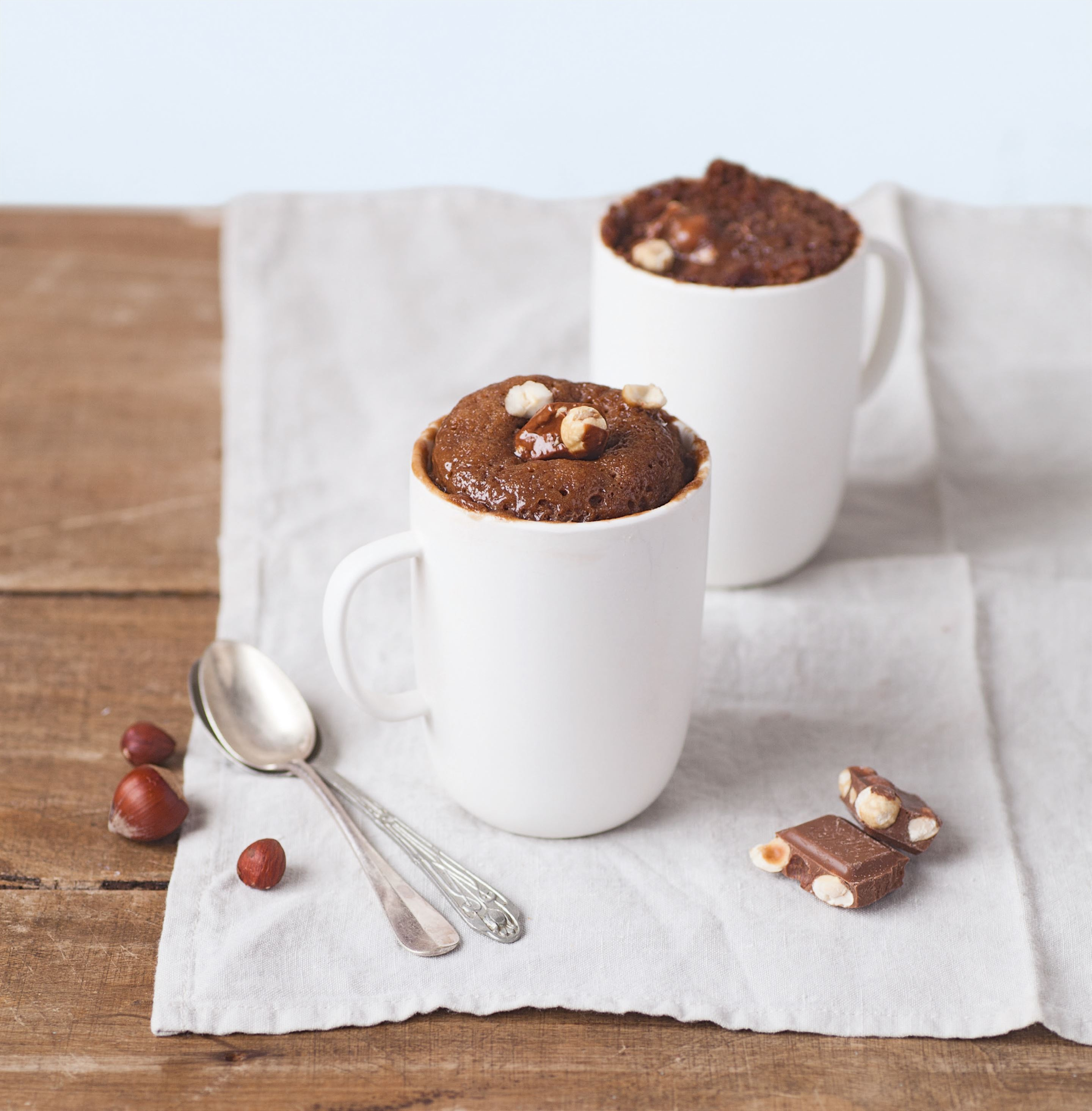 Milk chocolate & hazelnut melt-in-the-middle mug cake