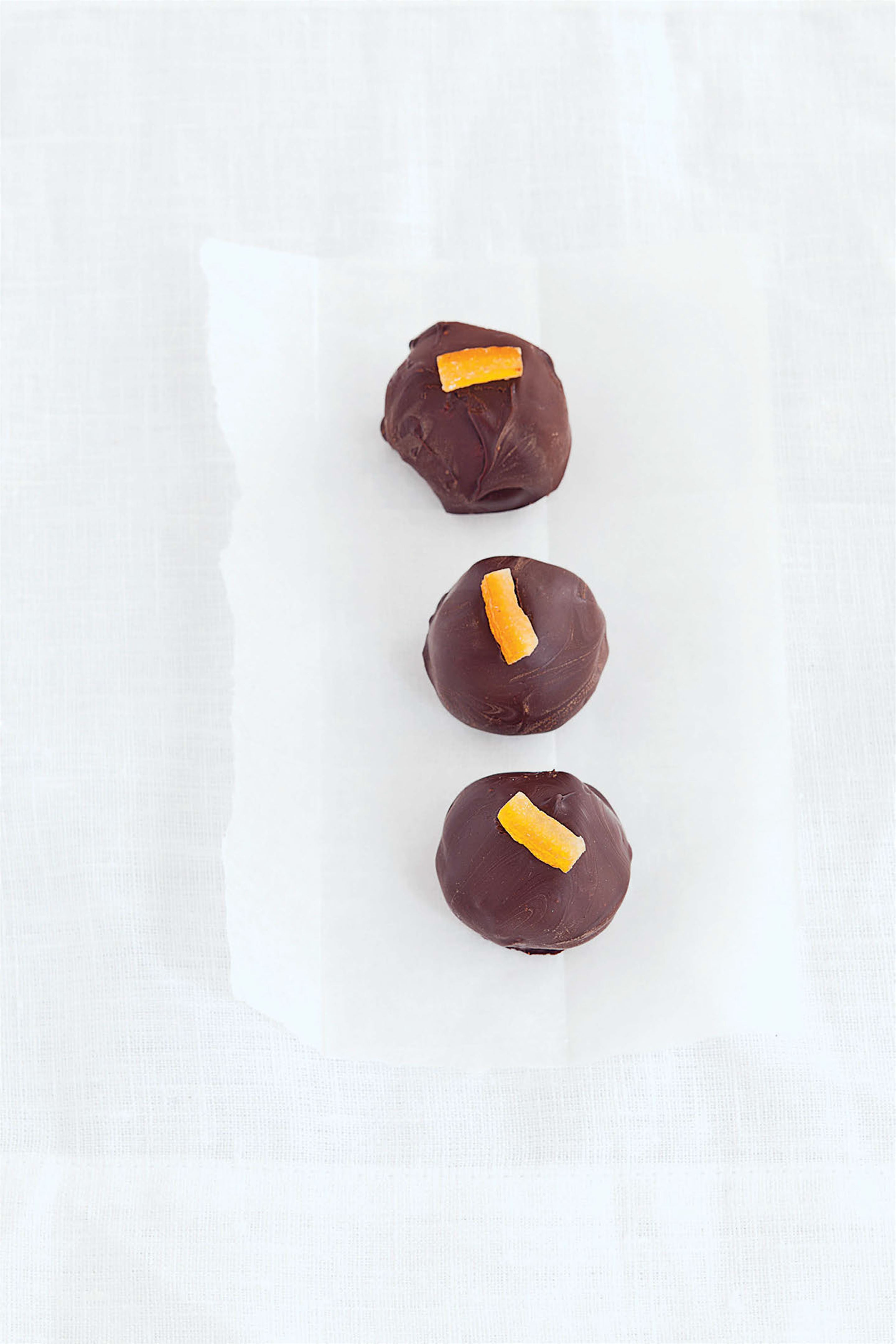 Bitter orange ganache chocolates