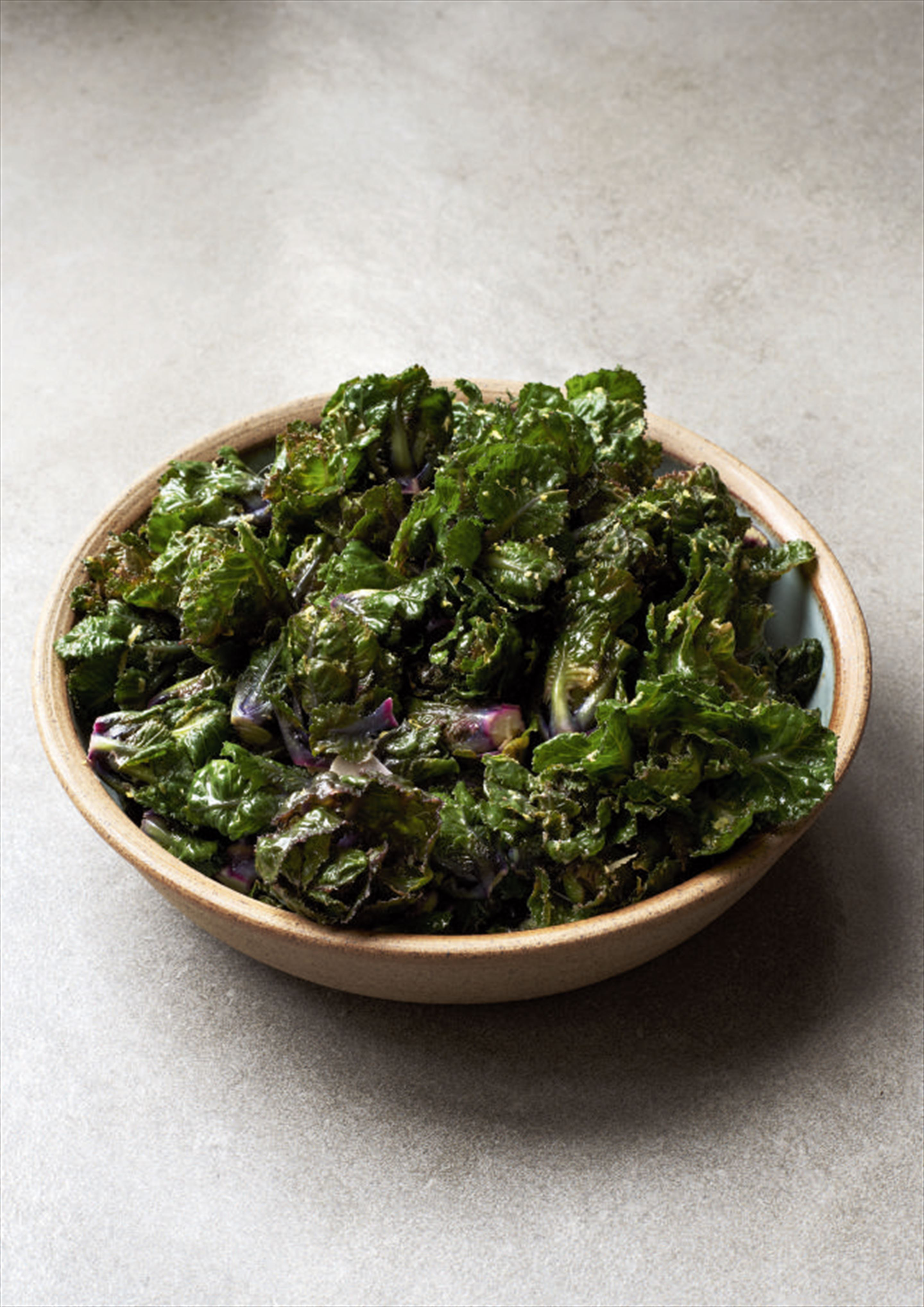 Flower sprouts with lemon and anchovy butter