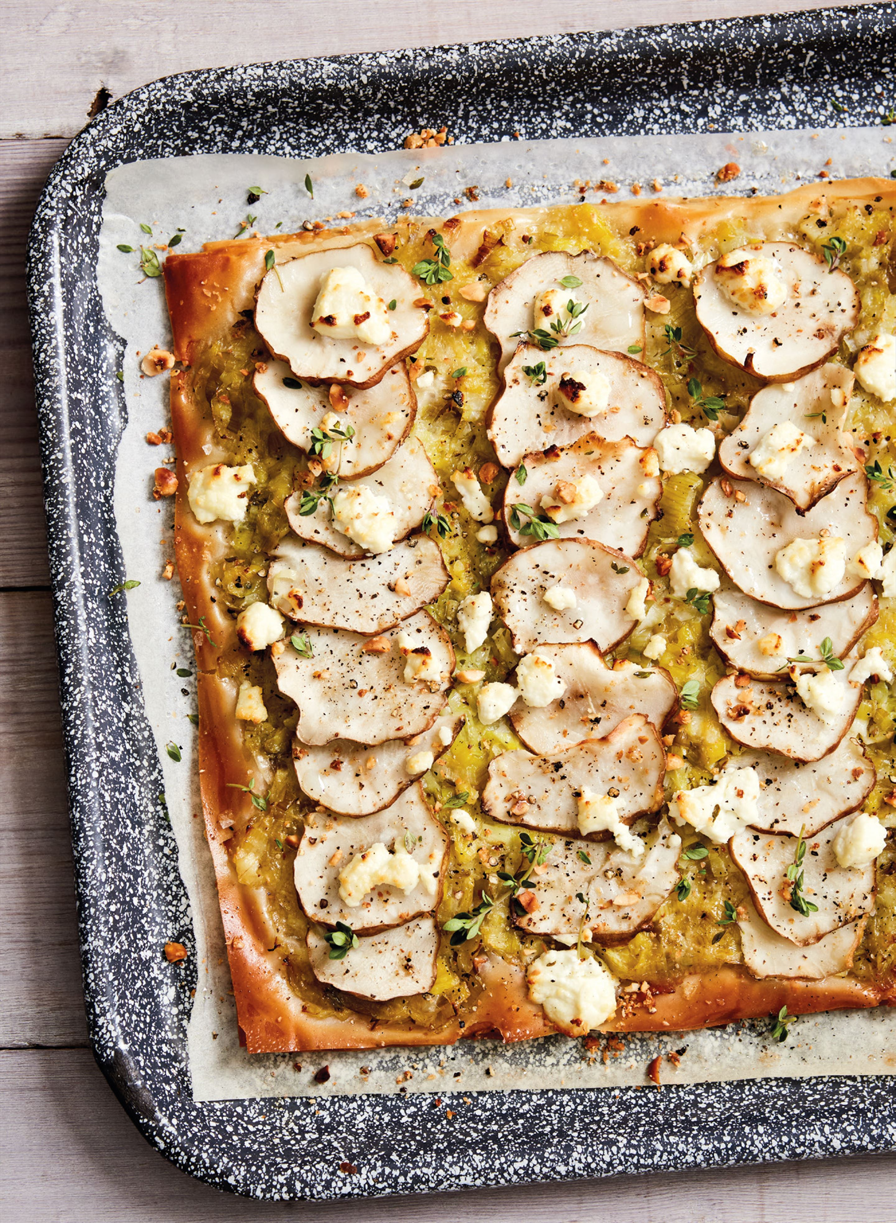 Jerusalem artichoke, hazelnut and goat's cheese tart