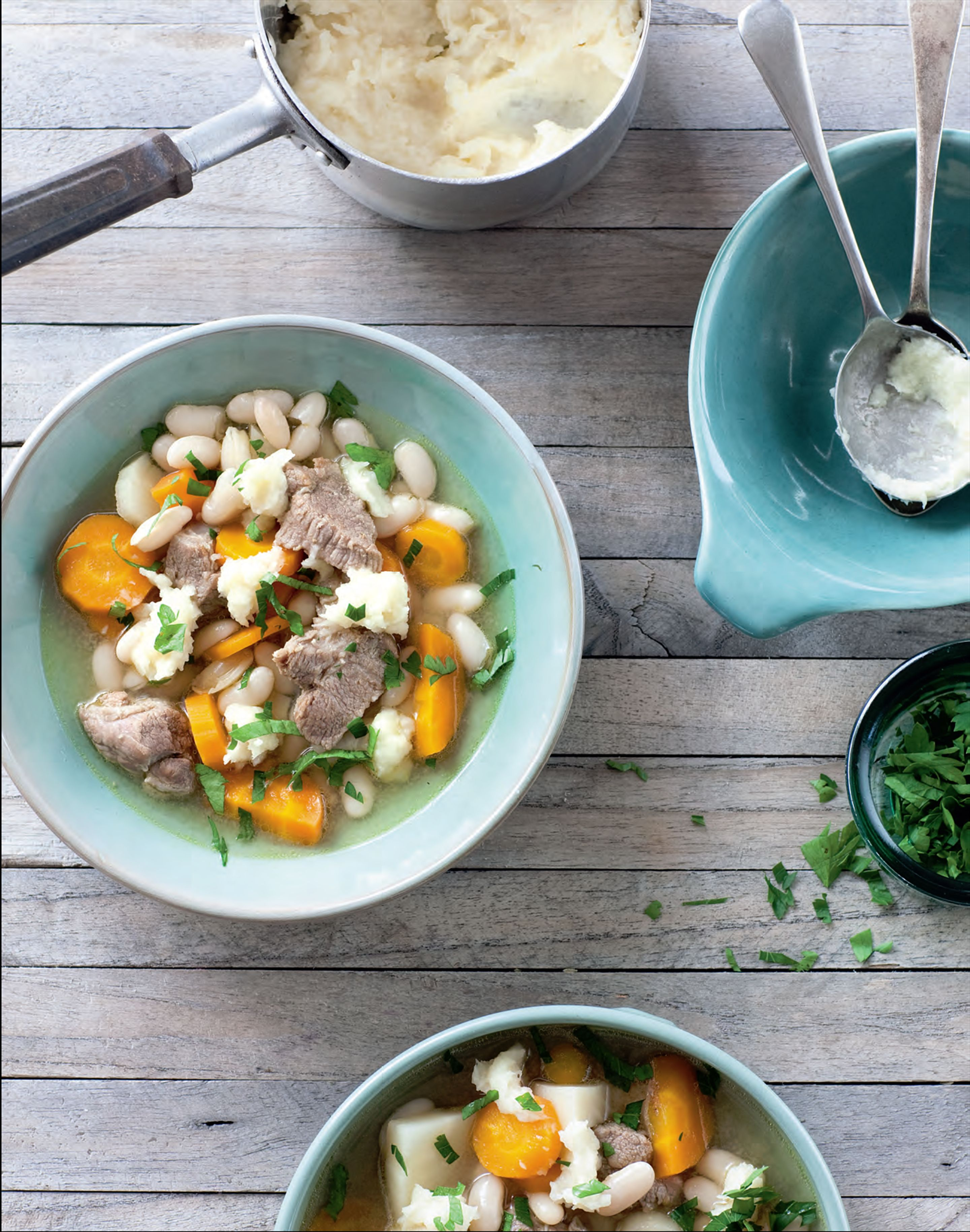 Pork and bean soup with turnip puree
