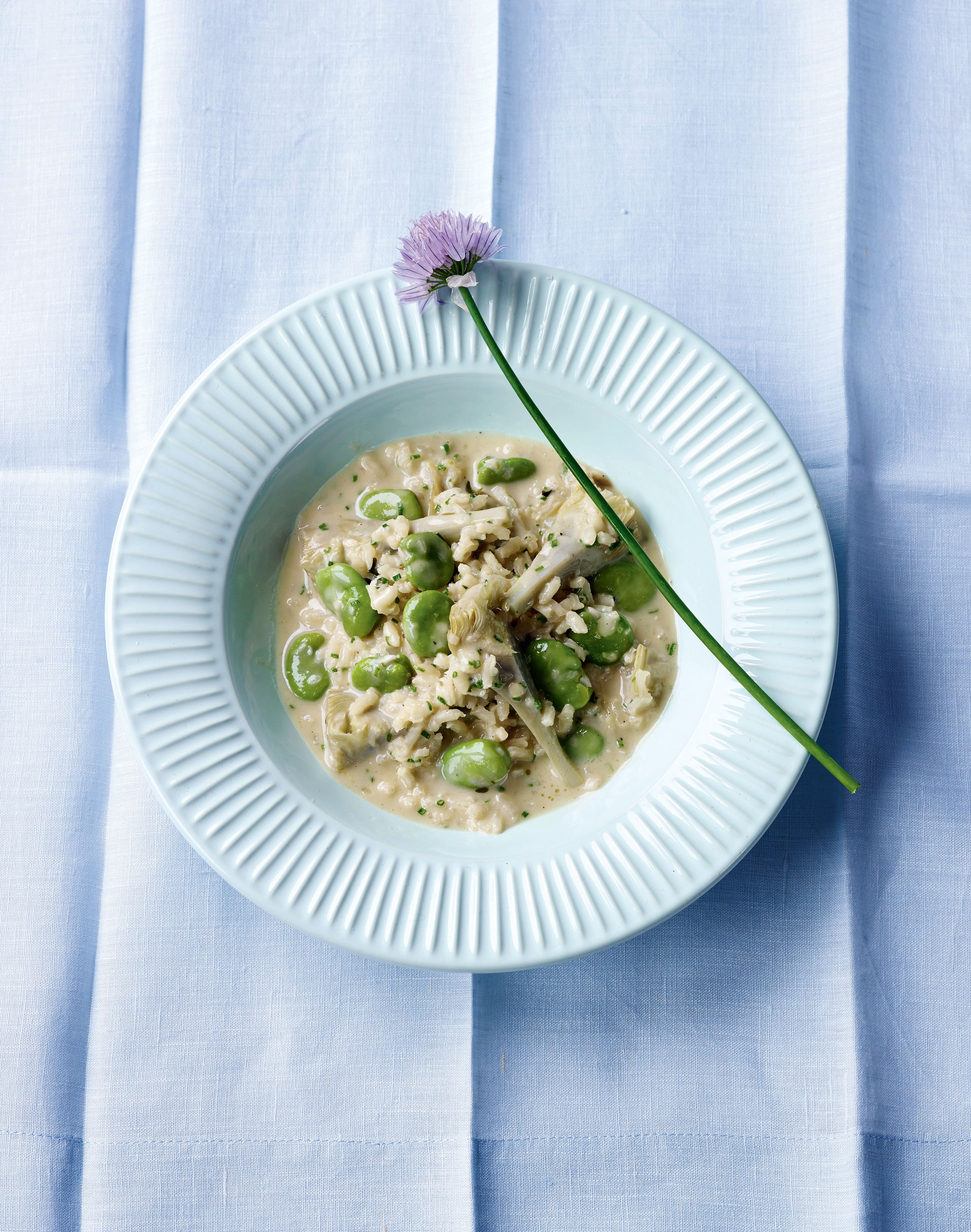 Artichoke and broad bean risotto