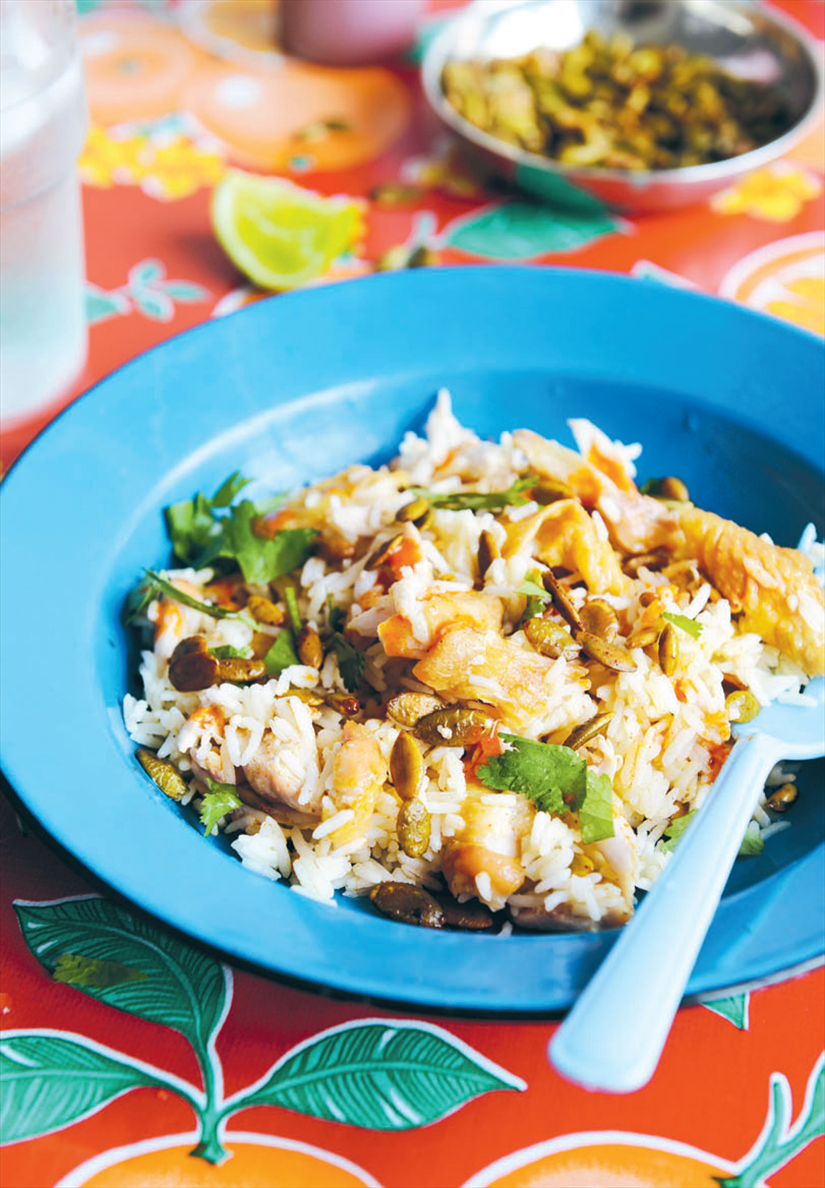 Chicken rice with spiced pepitas