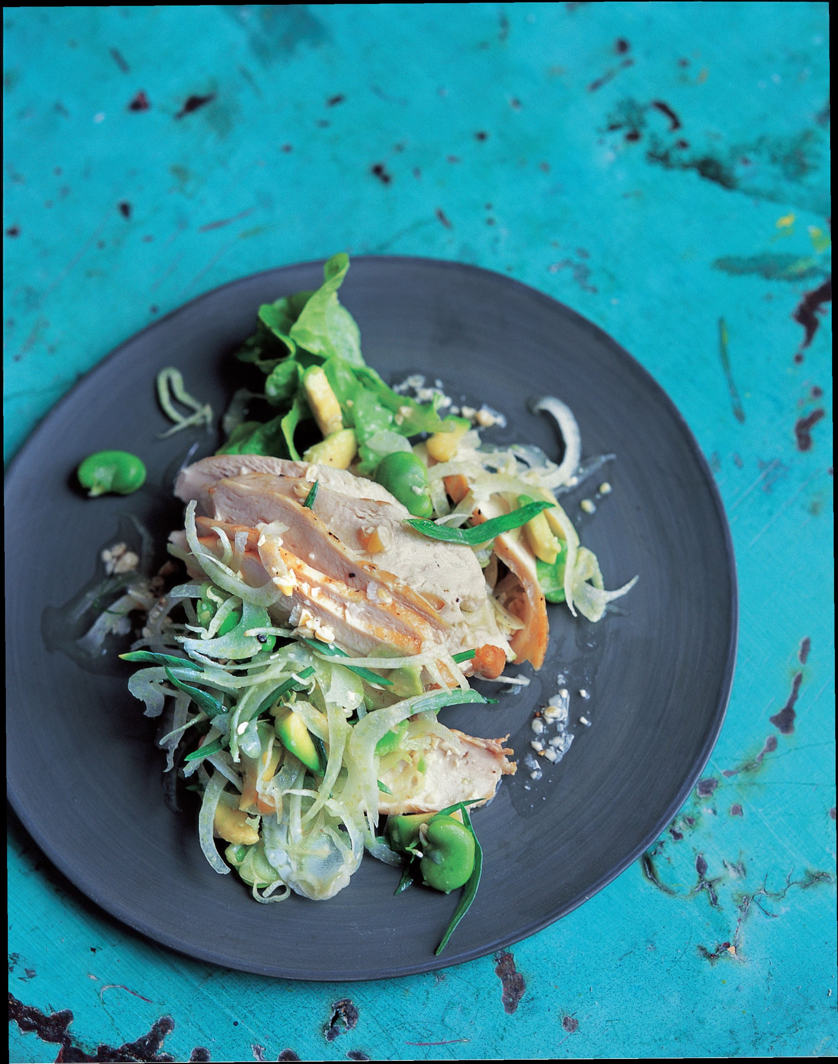 Chicken, fennel and broad bean salad