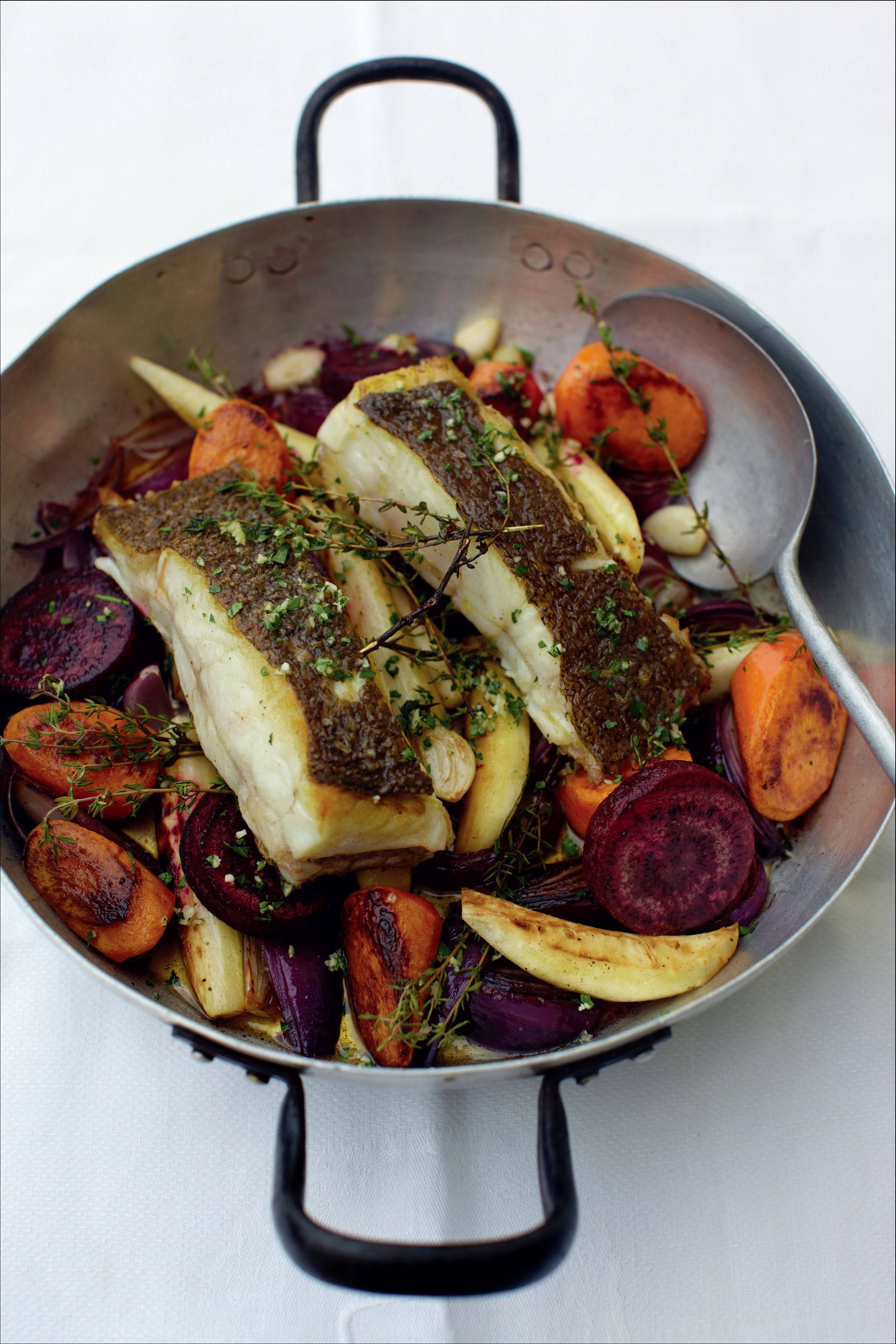 Brill with roasted root vegetables and red wine sauce