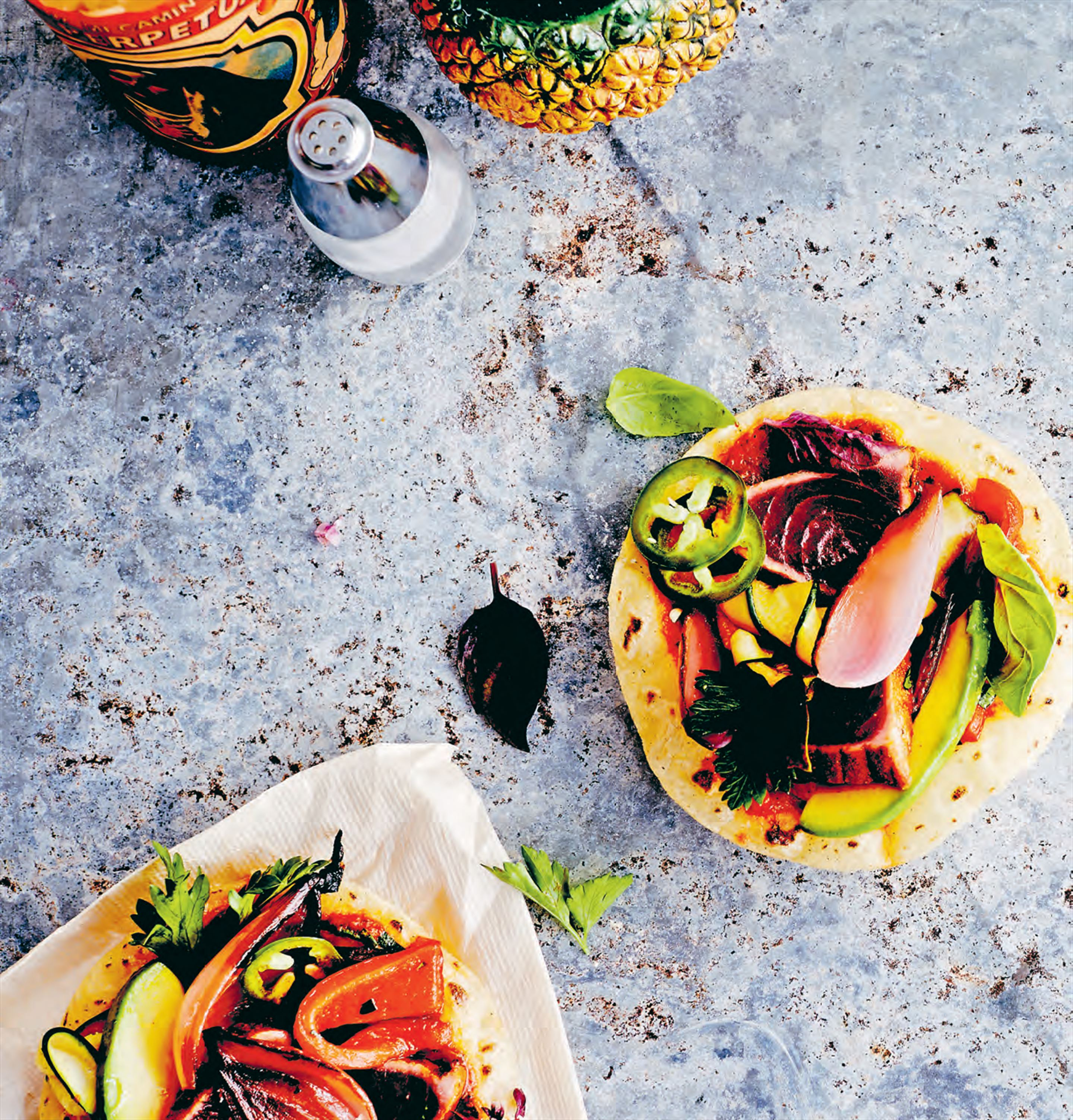 Street-style tostadas with seared tuna & wood-grilled veg
