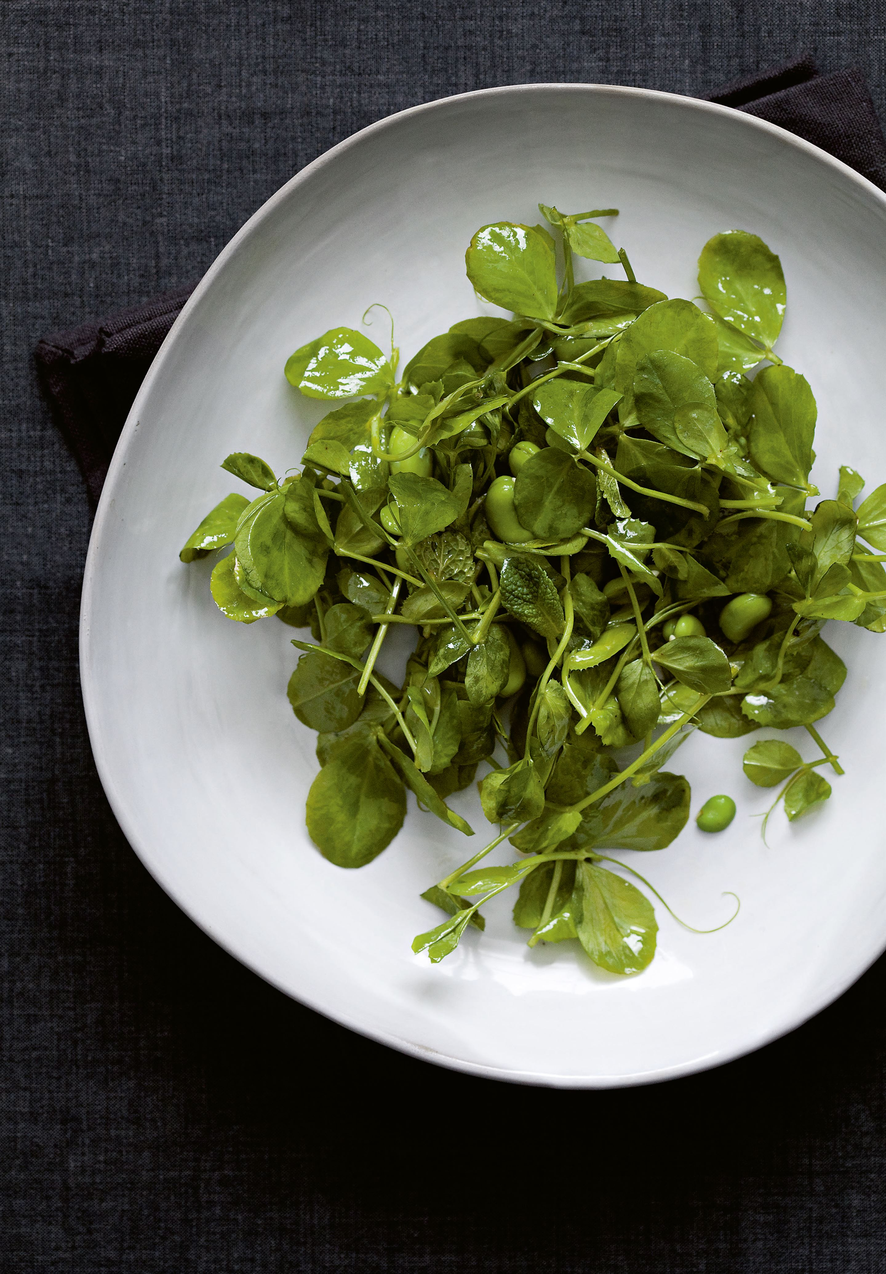 Broad bean salad with mint & pea shoots