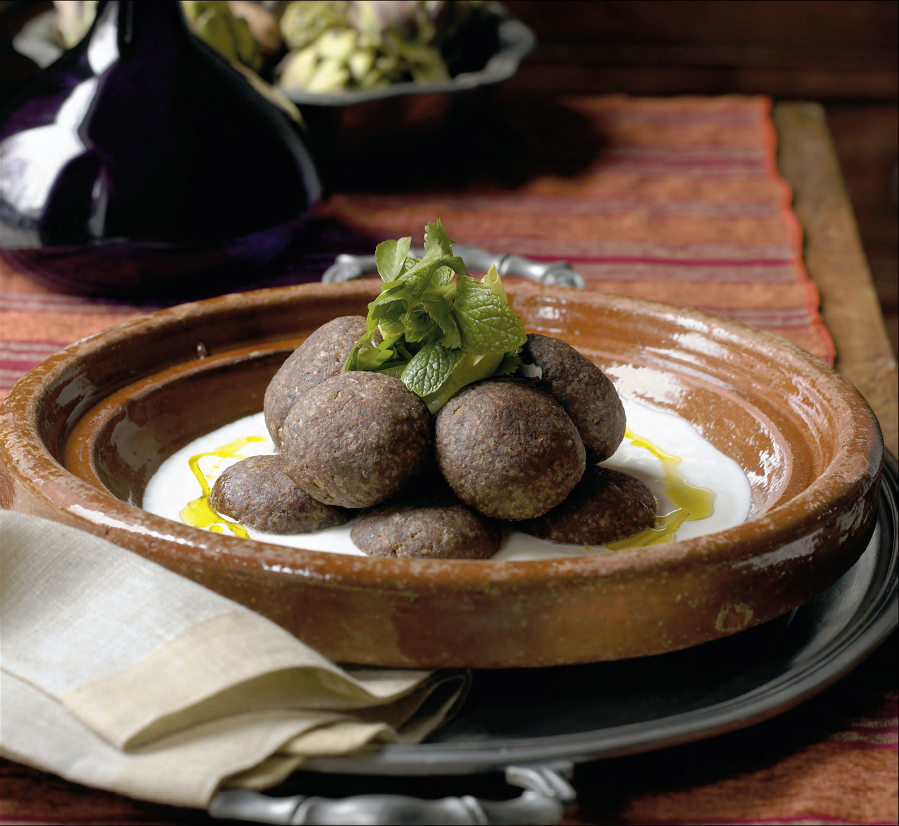 Zghorta-style kibbeh patties stuffed with cinnamon and pine-nut butter