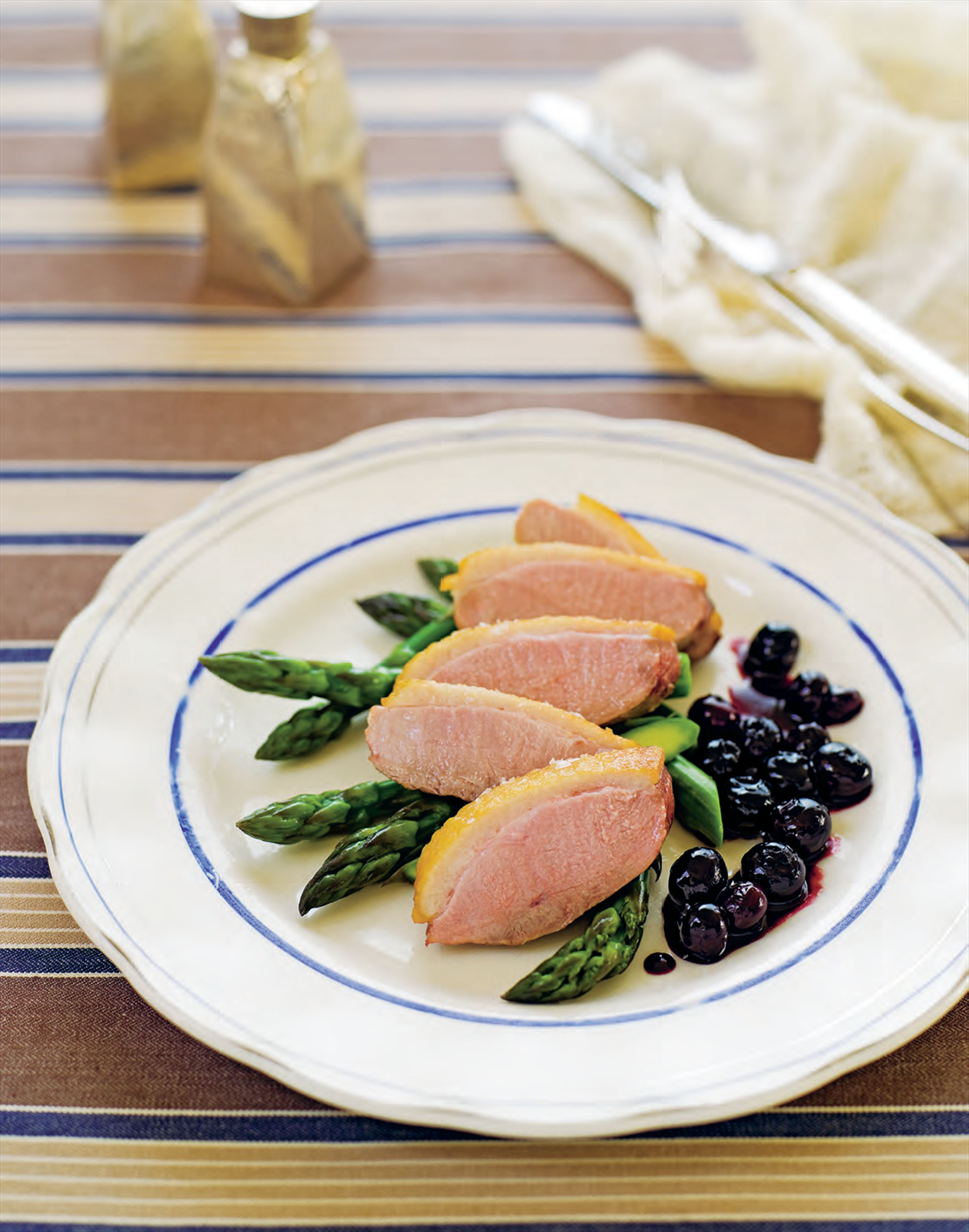 Duck breasts with blueberry and balsamic sauce