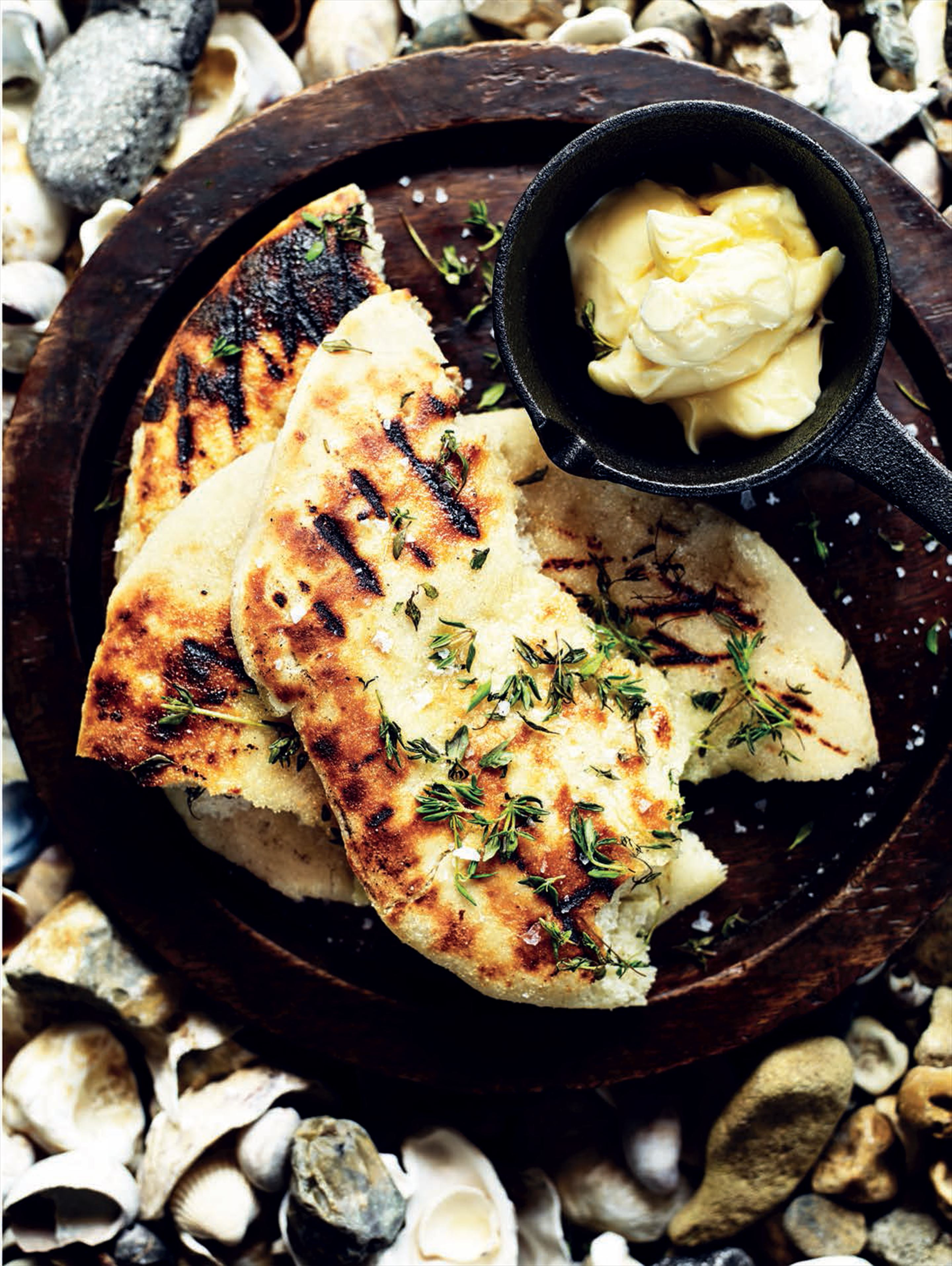 Potato and honey flatbreads with smoked butter and thyme